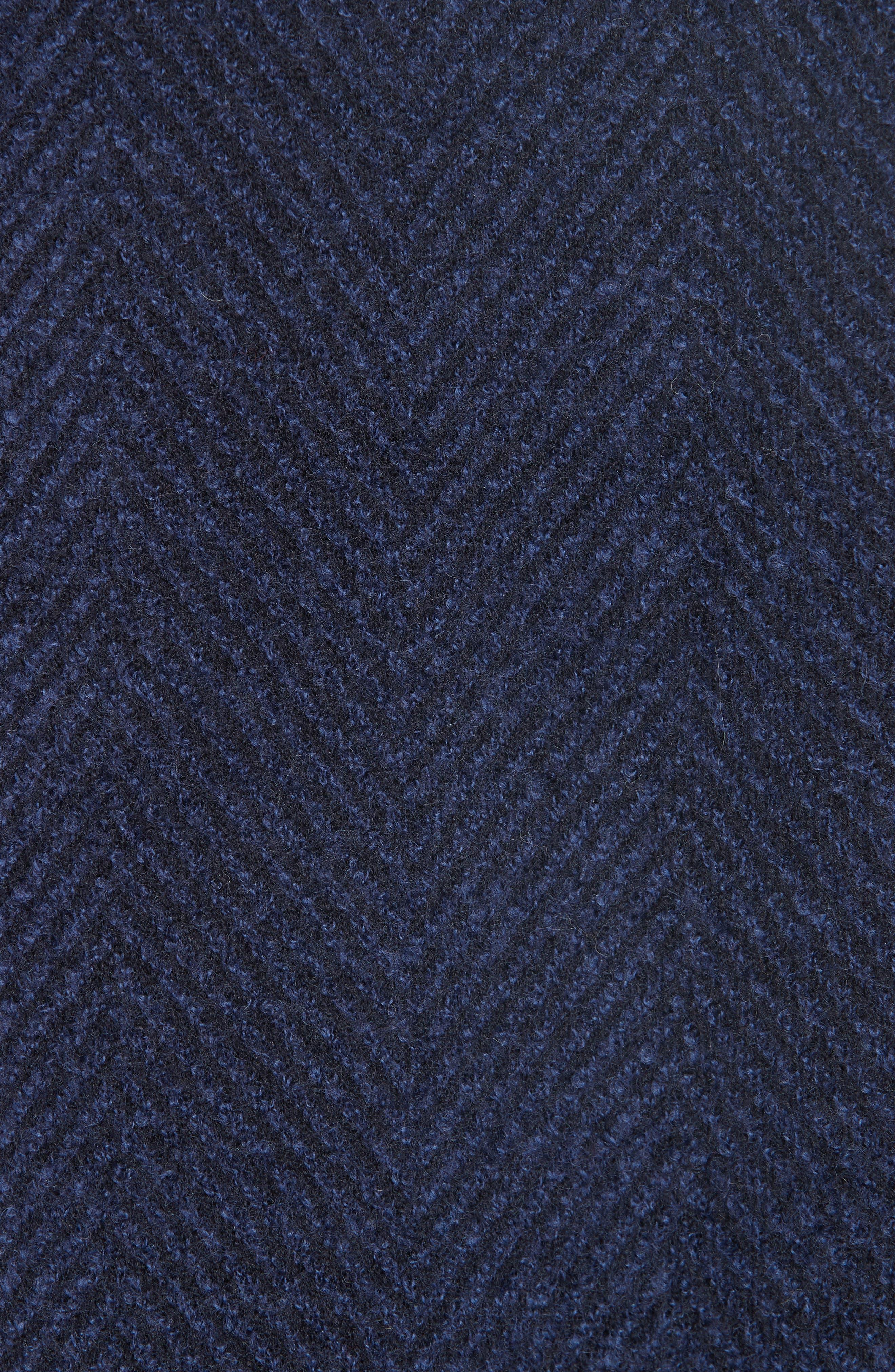Herringbone Wool Coat,                             Alternate thumbnail 7, color,                             NAVY BLUE