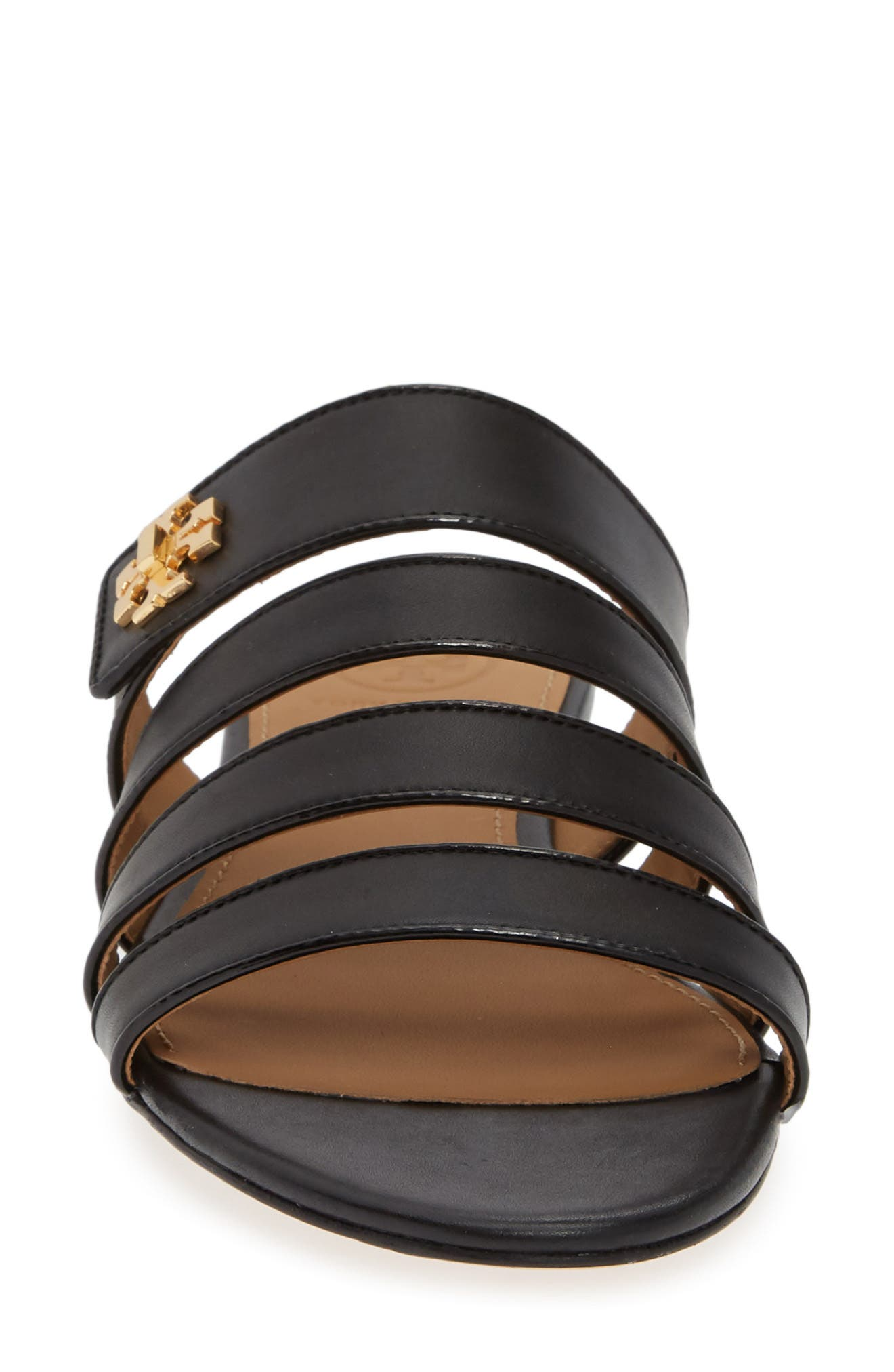 TORY BURCH,                             Kira Strappy Slide Sandal,                             Alternate thumbnail 4, color,                             PERFECT BLACK/ PERFECT BLACK