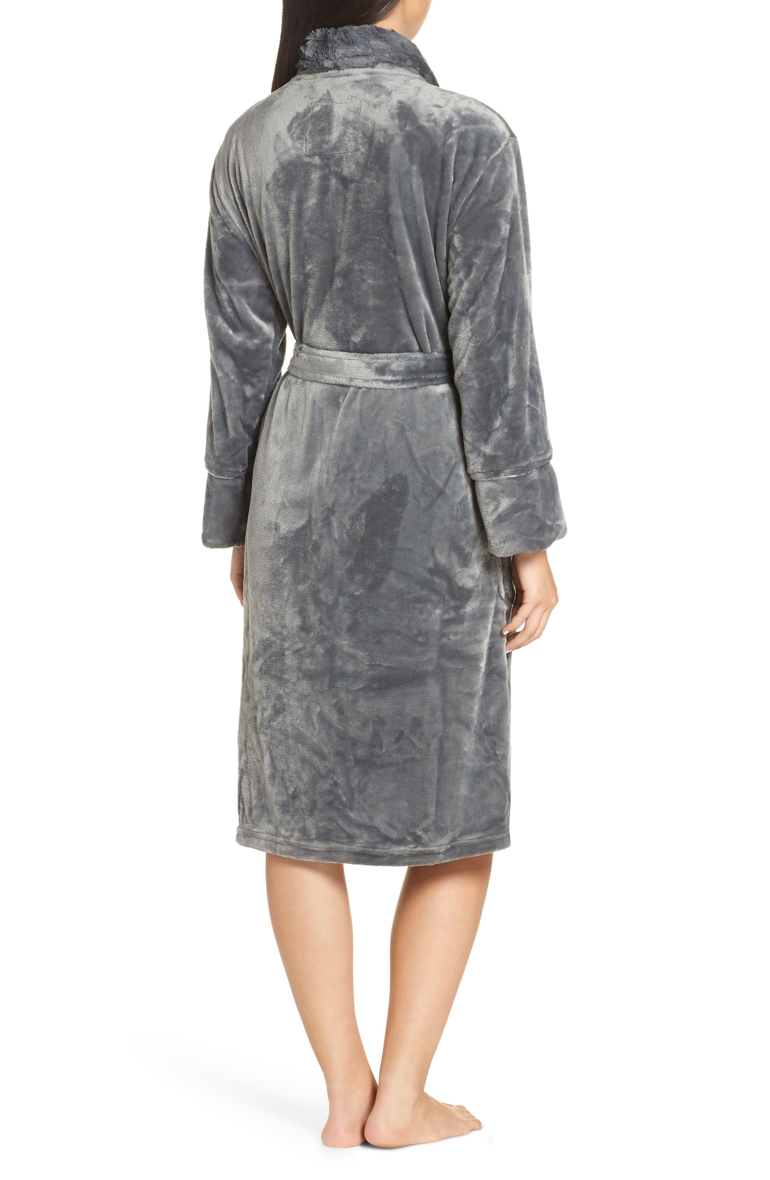 Luxe Faux Fur Robe,                             Alternate thumbnail 2, color,                             GREY