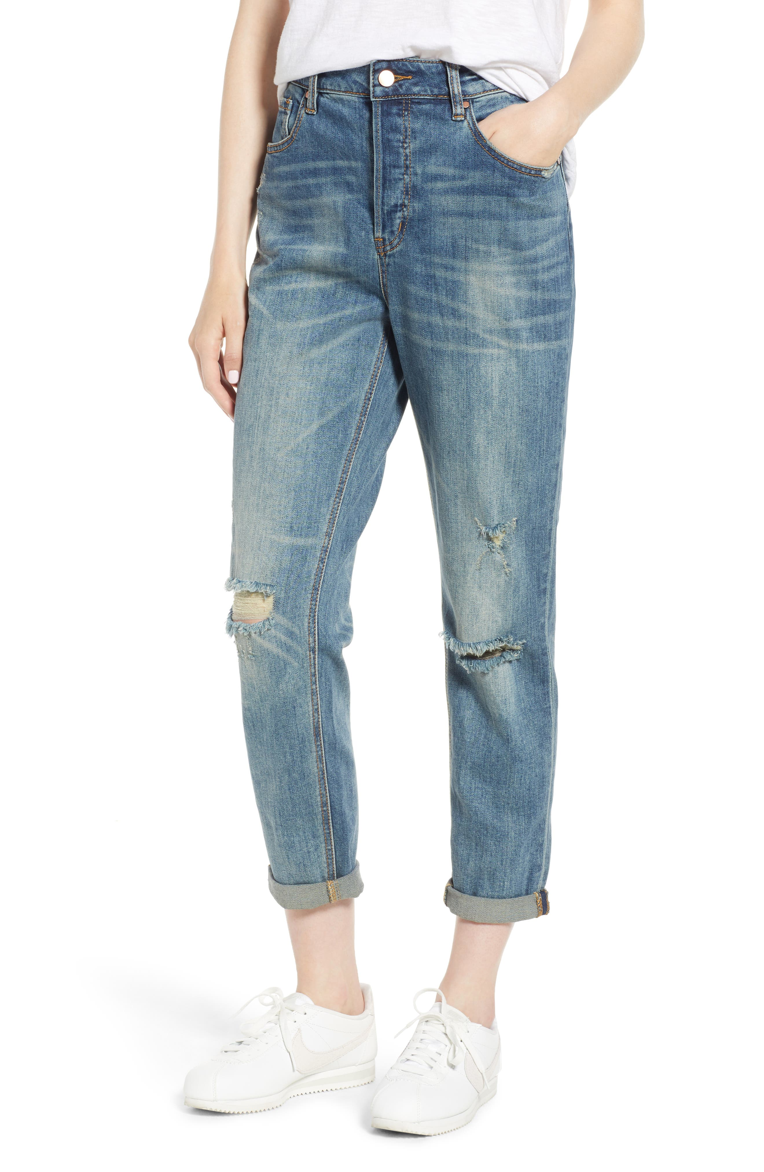 Billie Distressed Relaxed Jeans,                             Main thumbnail 1, color,                             CAMEO