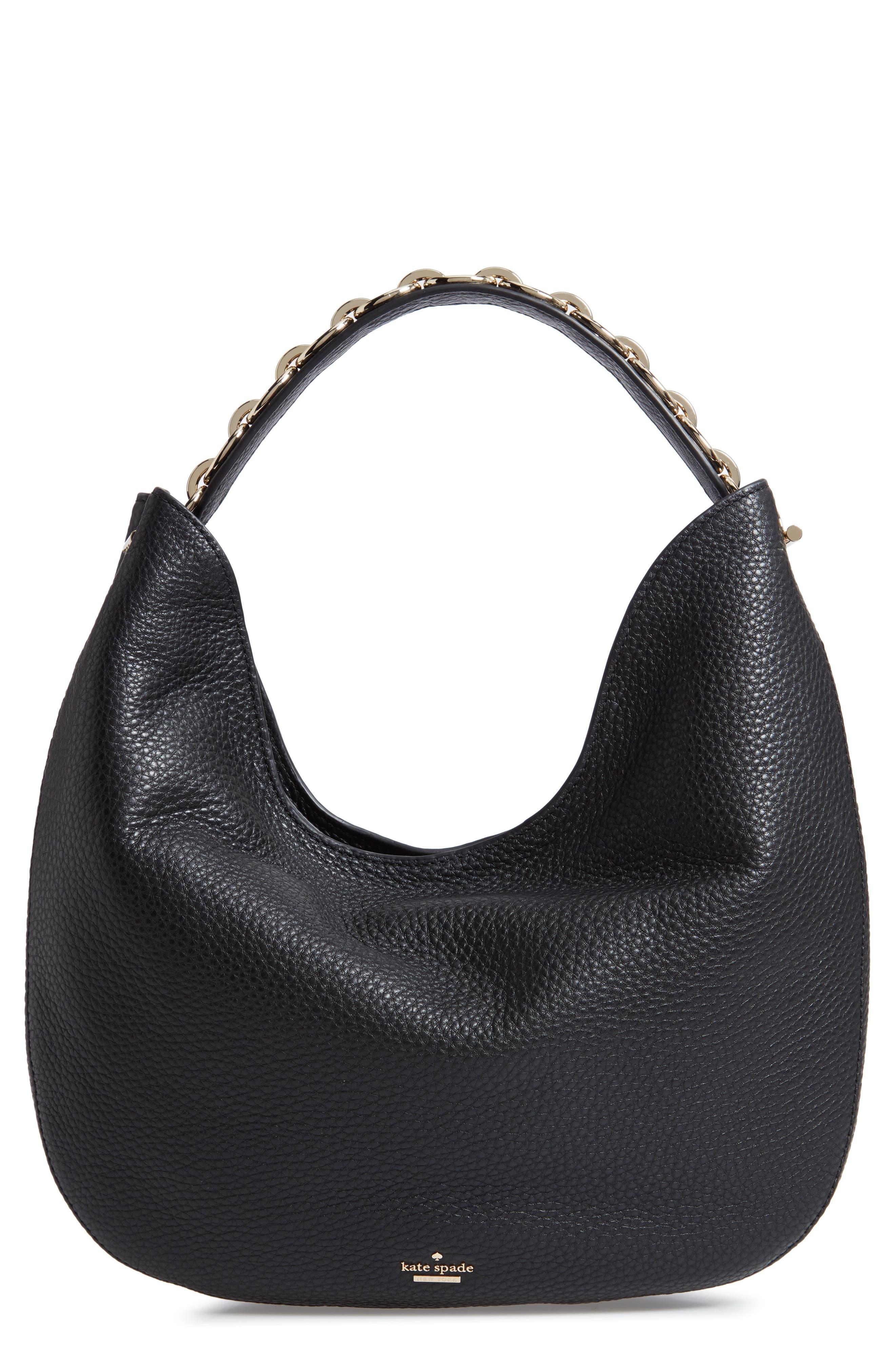 murray street heather pebbled leather hobo bag,                         Main,                         color, BLACK