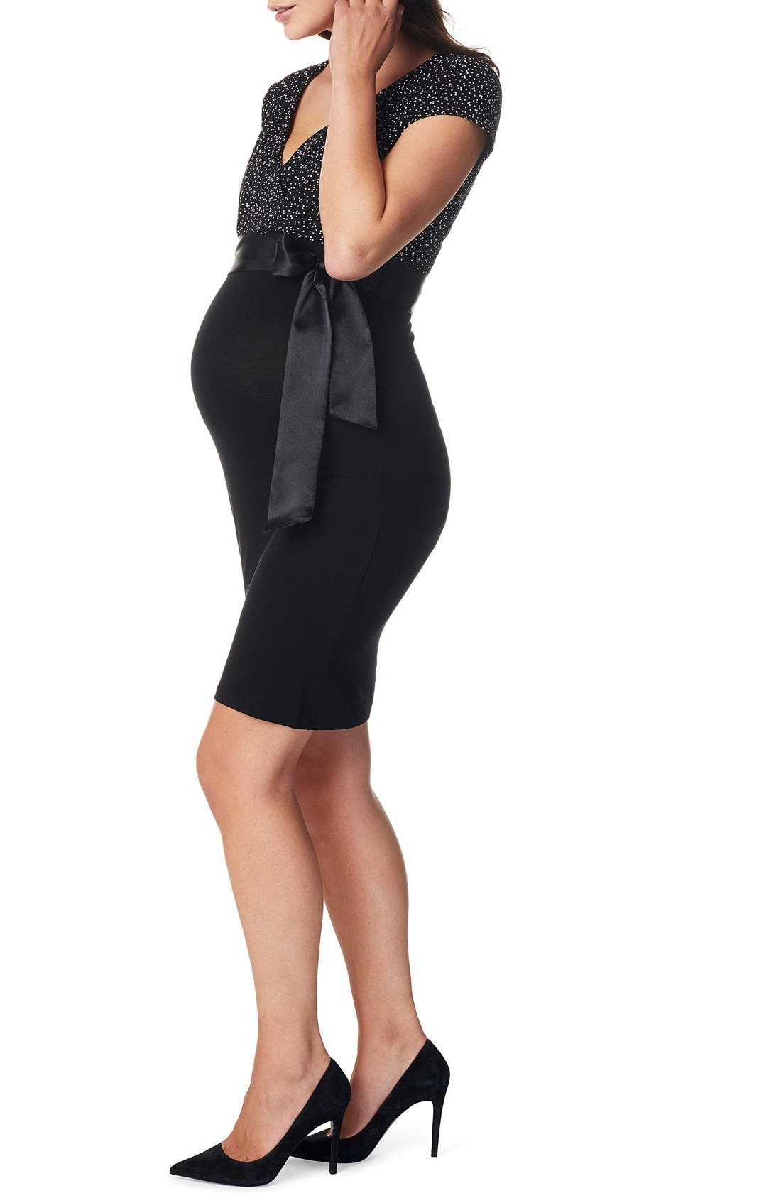 'Zarita' Stretch Jersey Maternity Dress,                             Alternate thumbnail 2, color,                             BLACK