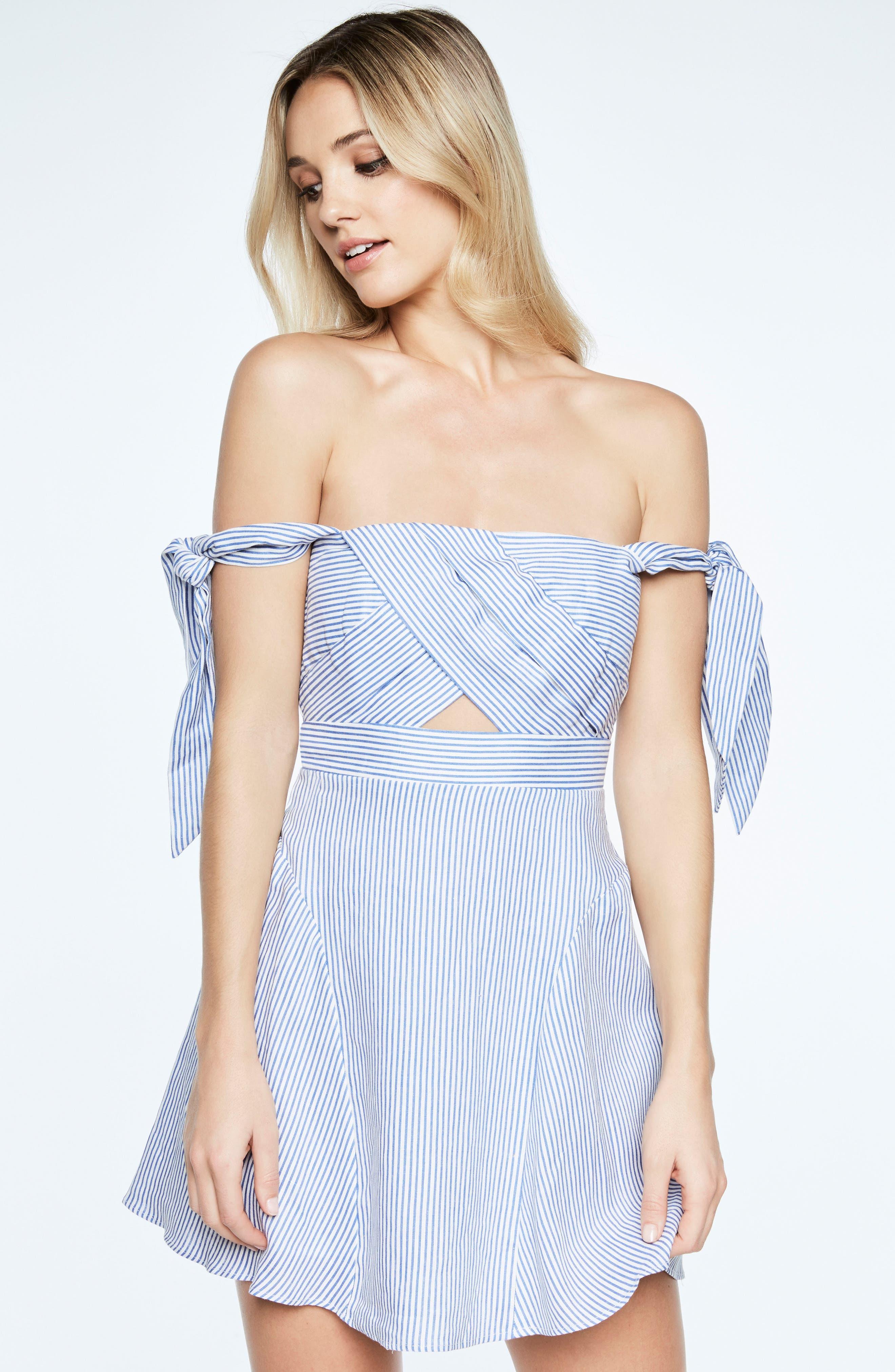 Stripe Off the Shoulder Linen Dress,                             Alternate thumbnail 5, color,