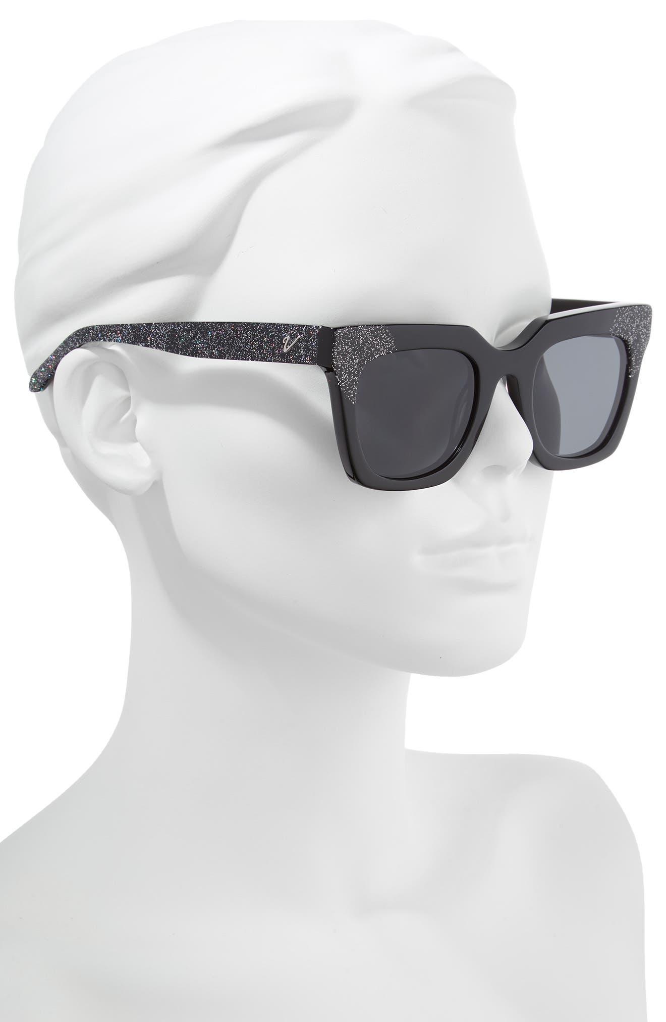 Riley 50mm Cat Eye Sunglasses,                             Alternate thumbnail 2, color,                             BLACK/ SMOKE