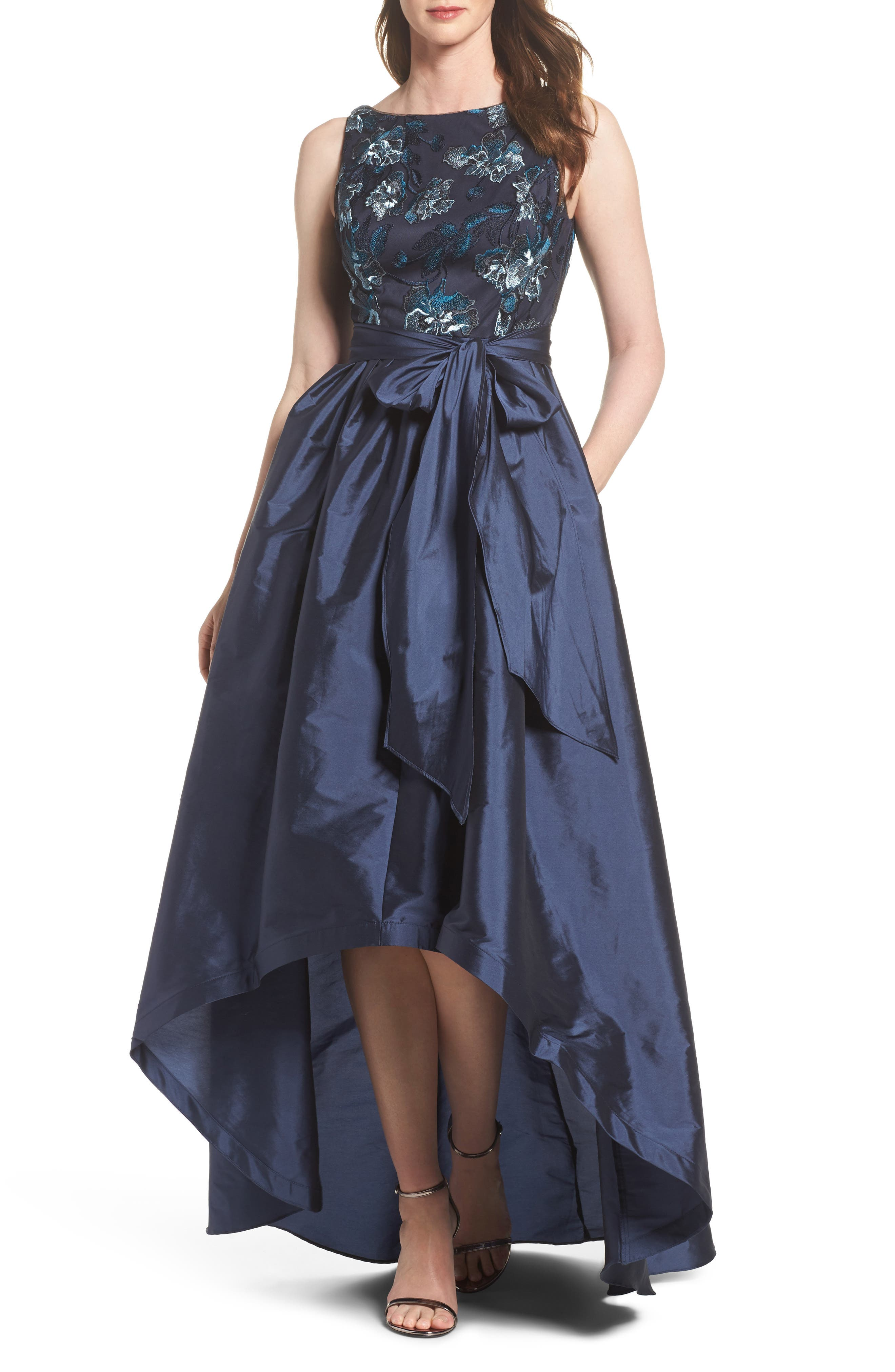 Embroidered Taffeta High/Low Gown,                         Main,                         color,