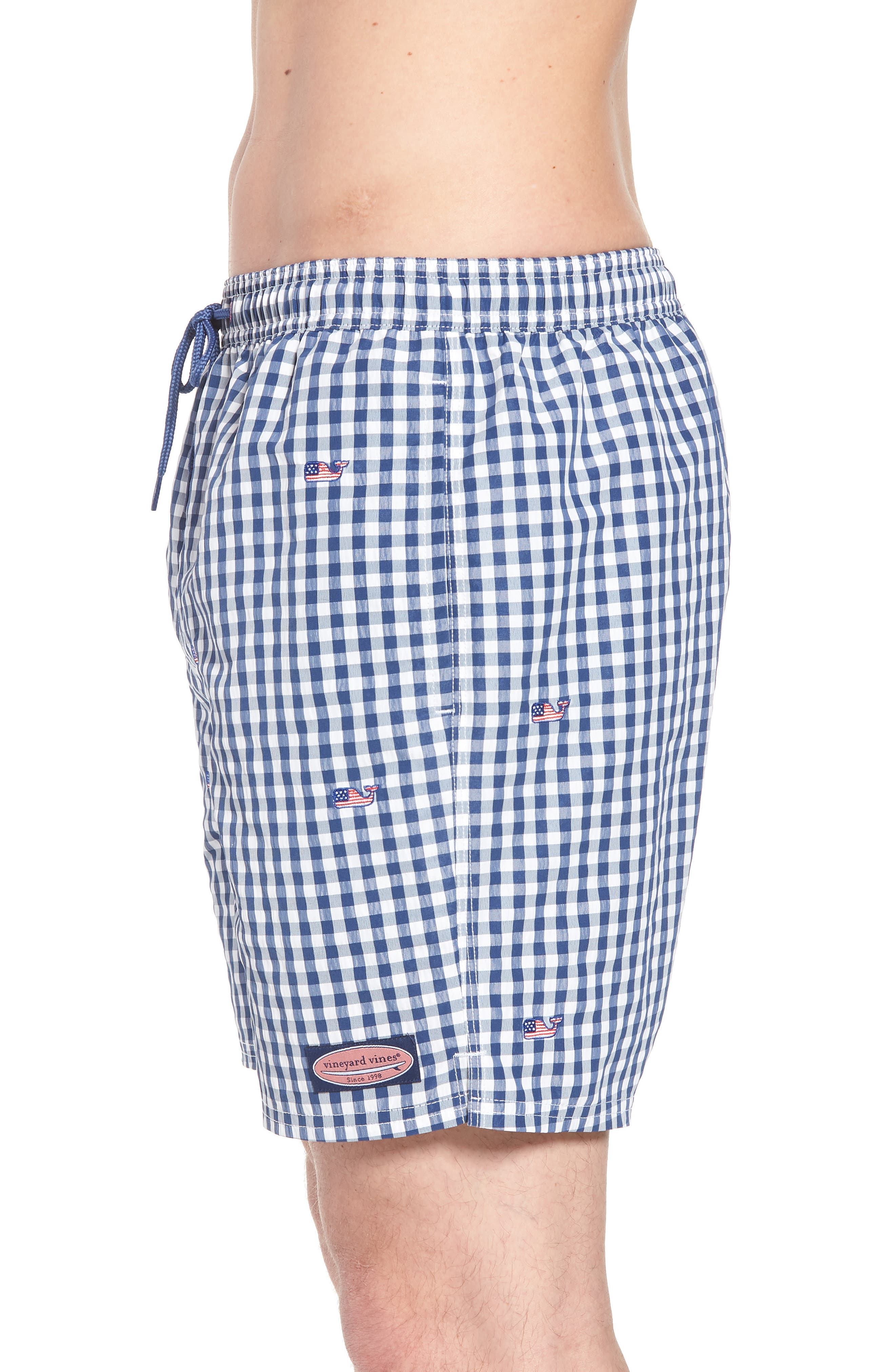 Chappy Flag Whale Embroidered Gingham Swim Trunks,                             Alternate thumbnail 3, color,                             461