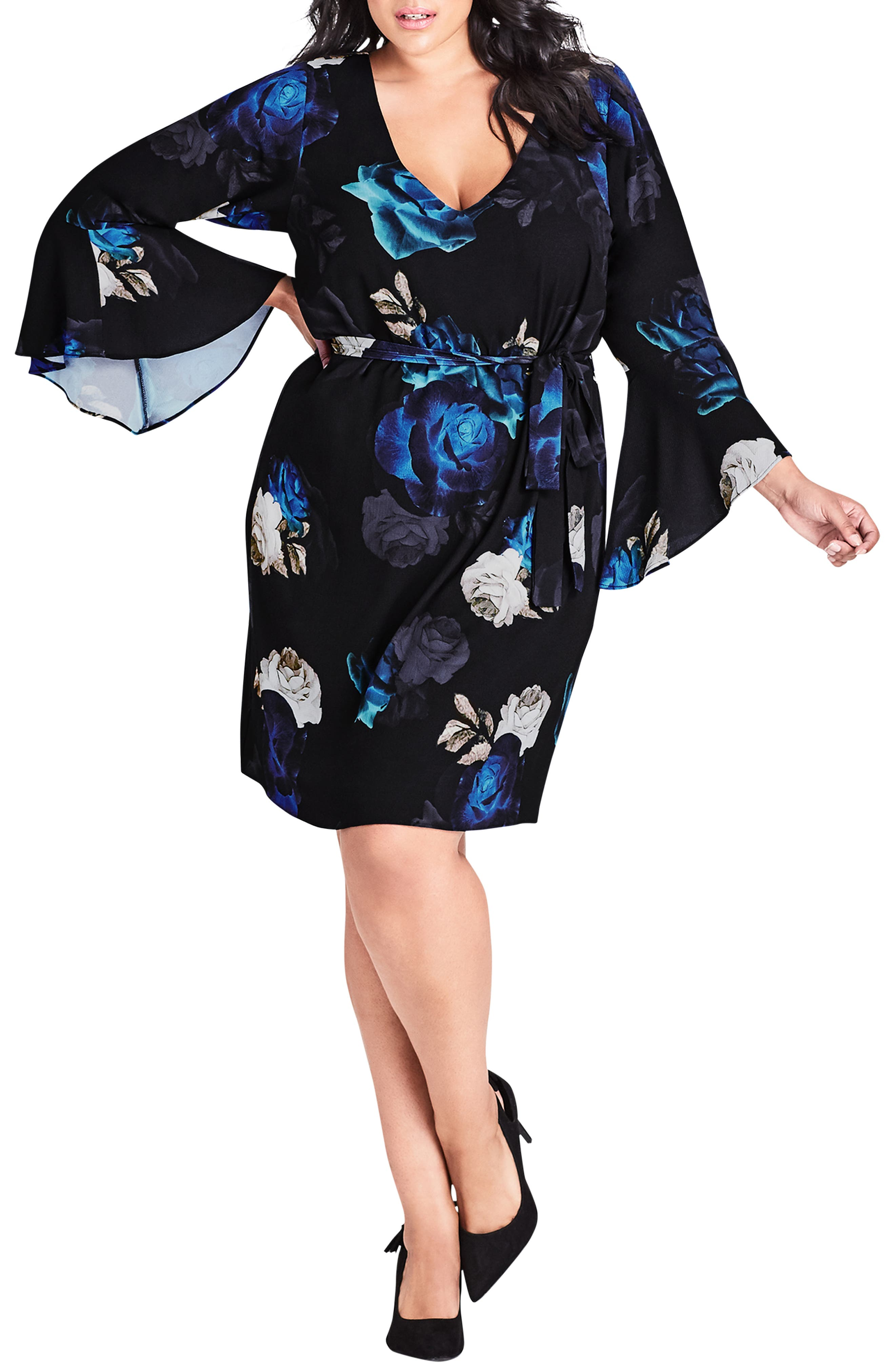 Electric Bell Sleeve Floral Dress,                         Main,                         color, ELECTRIC ROSE