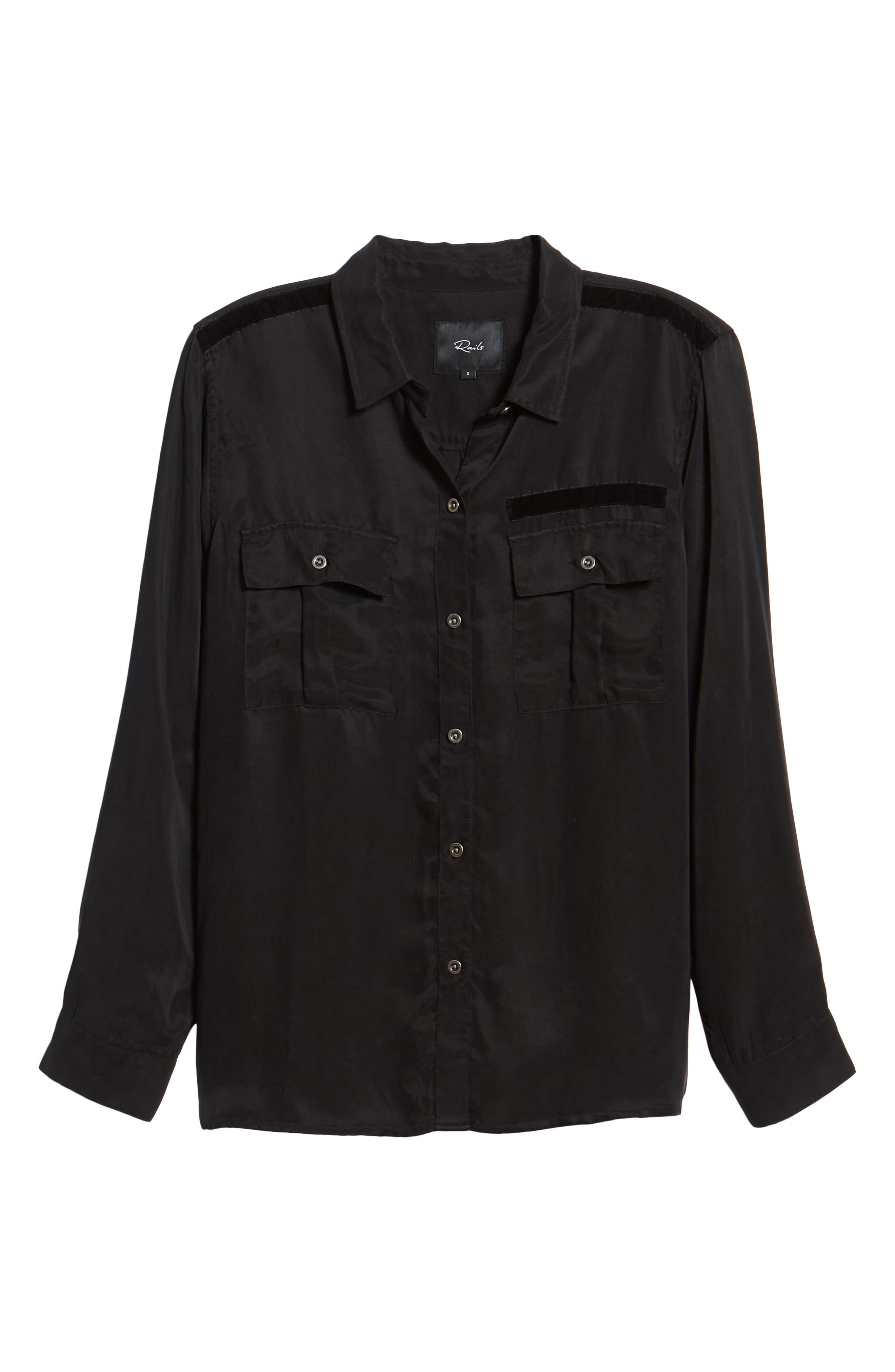 Kent Button Up Blouse,                             Alternate thumbnail 6, color,                             BLACK
