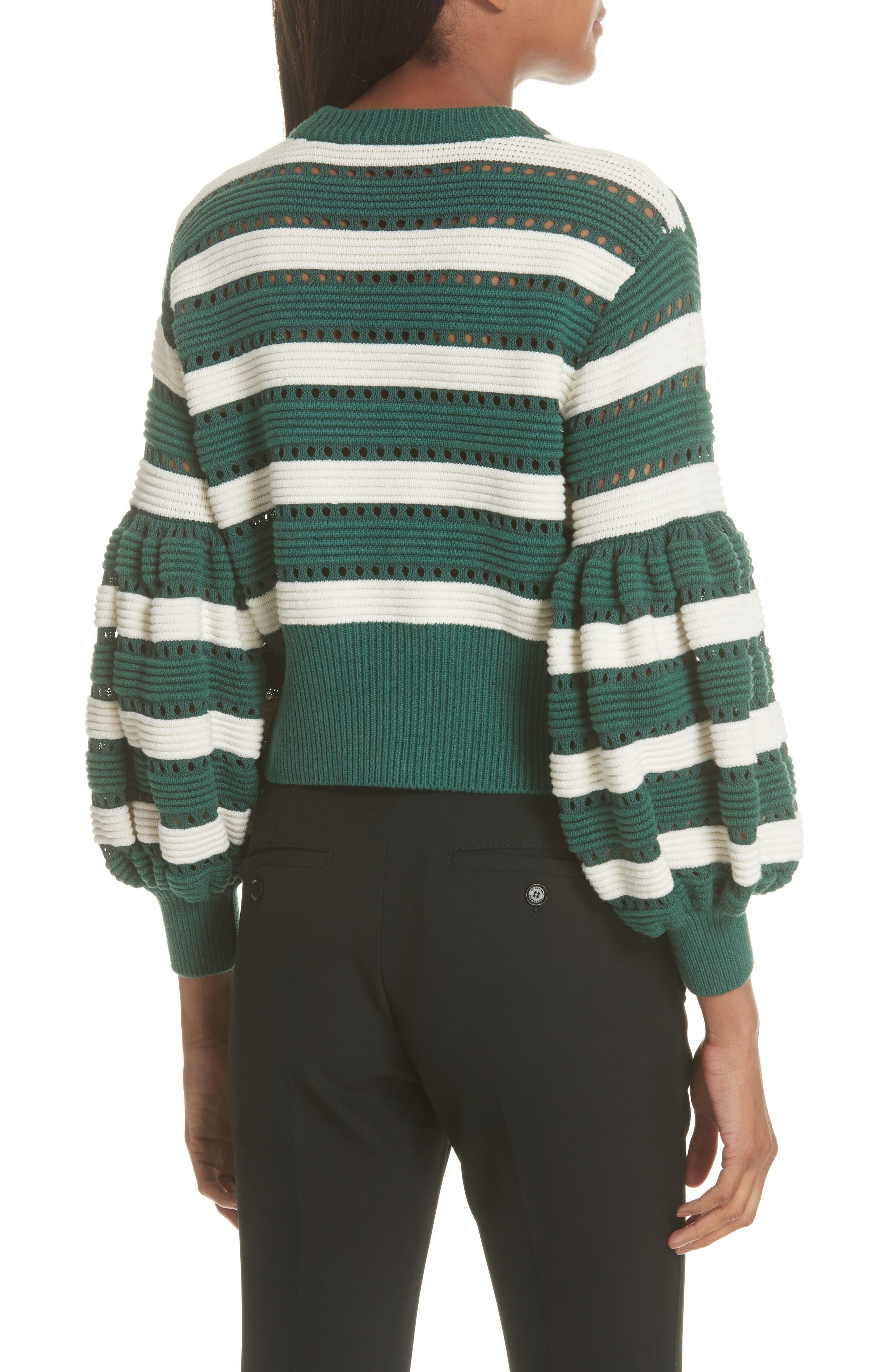 Puff Sleeve Cotton & Wool Crop Sweater,                             Alternate thumbnail 2, color,                             GREEN-CREAM