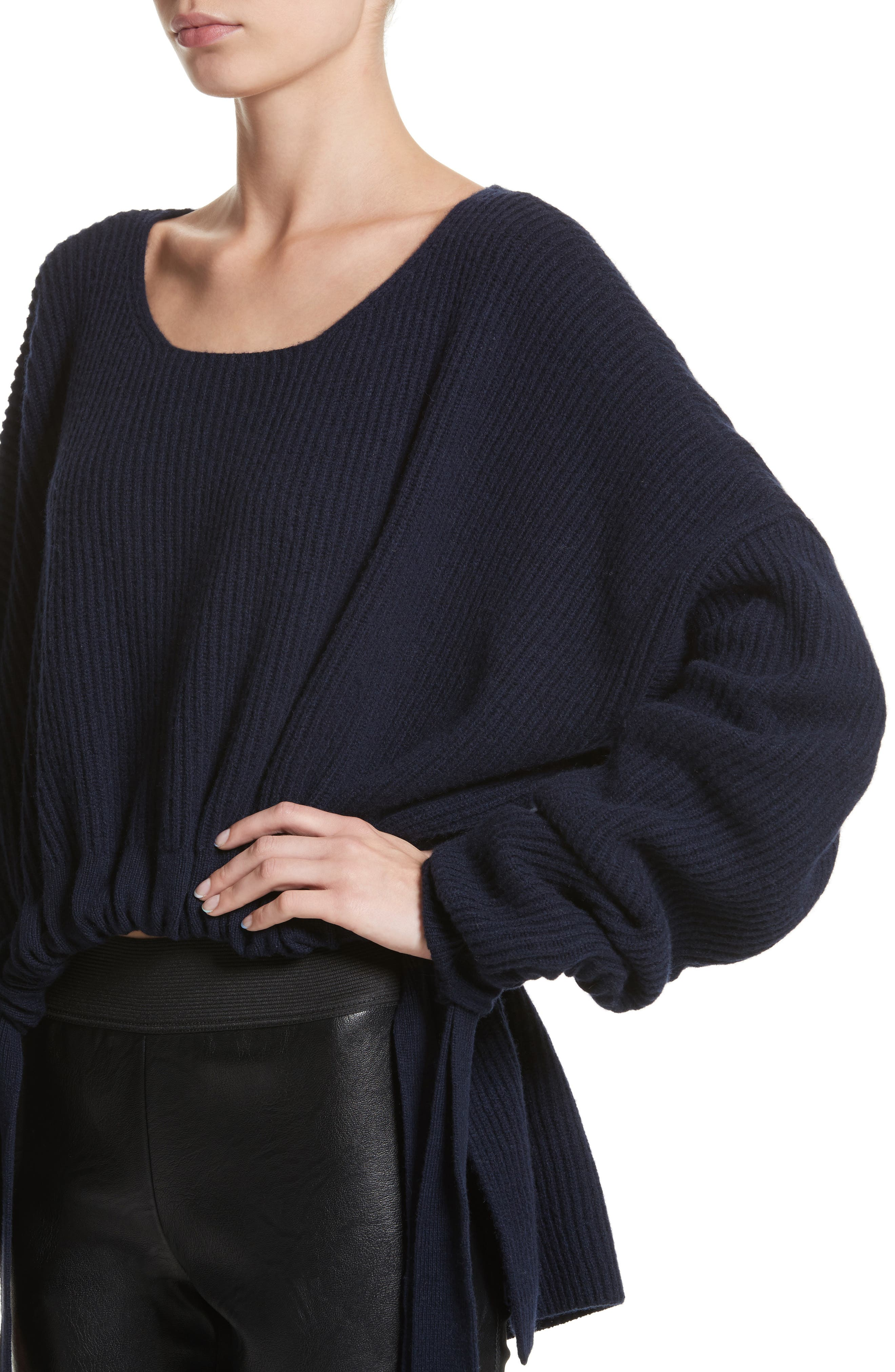Gathered Cashmere & Wool Sweater,                             Alternate thumbnail 4, color,                             001