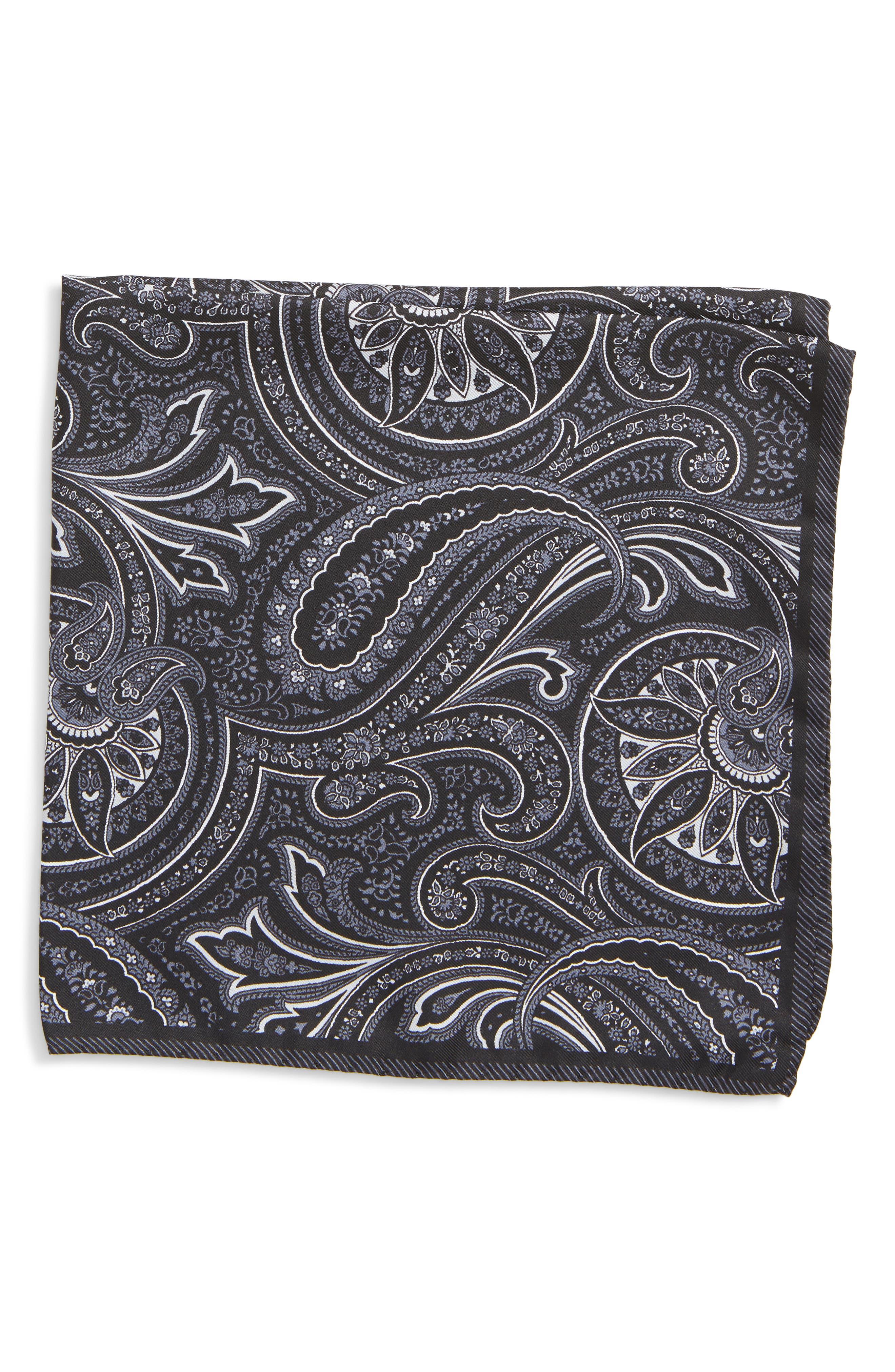 Paisley Silk Pocket Square,                             Main thumbnail 1, color,                             BLACK