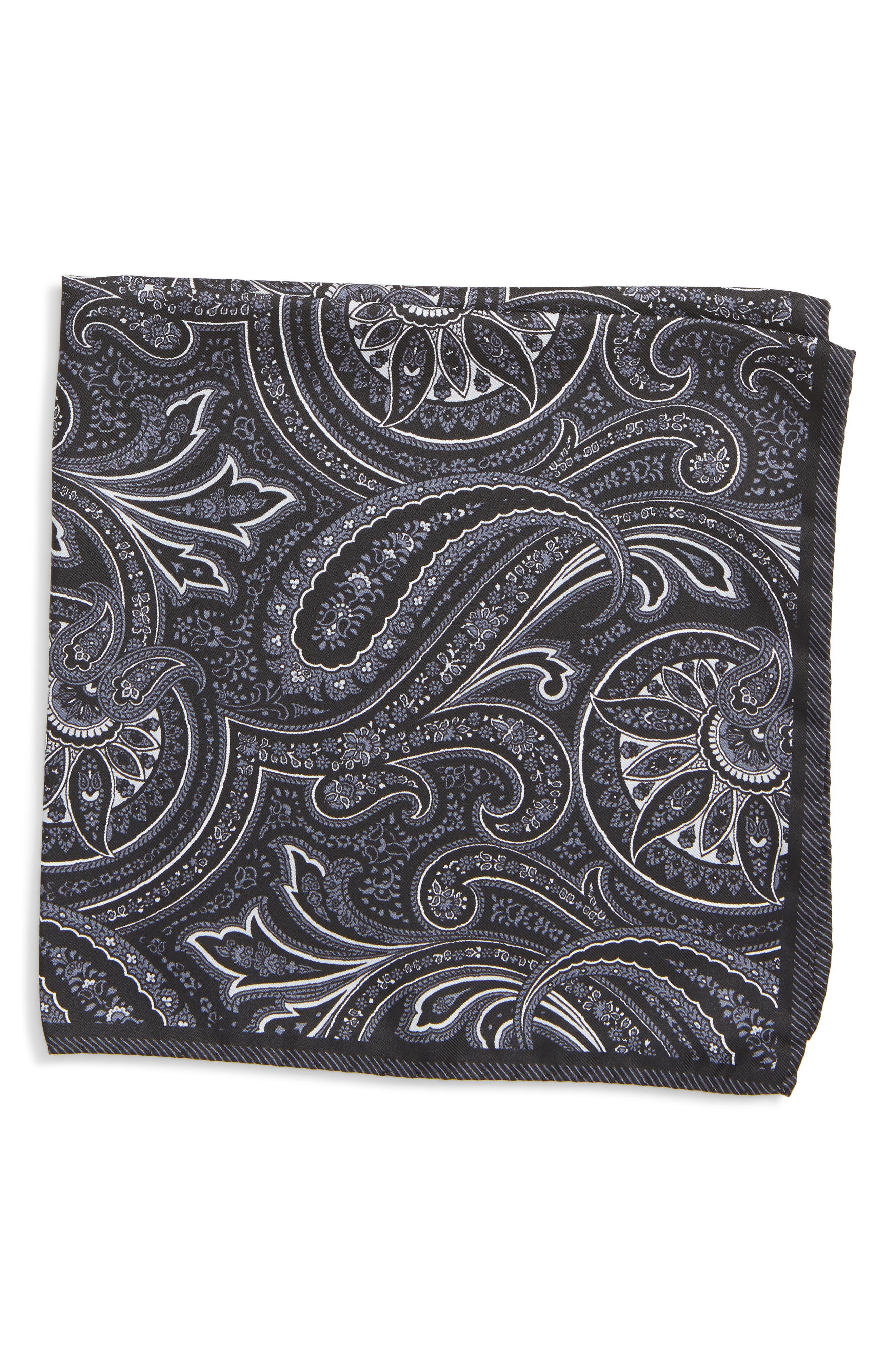 Paisley Silk Pocket Square,                         Main,                         color, BLACK