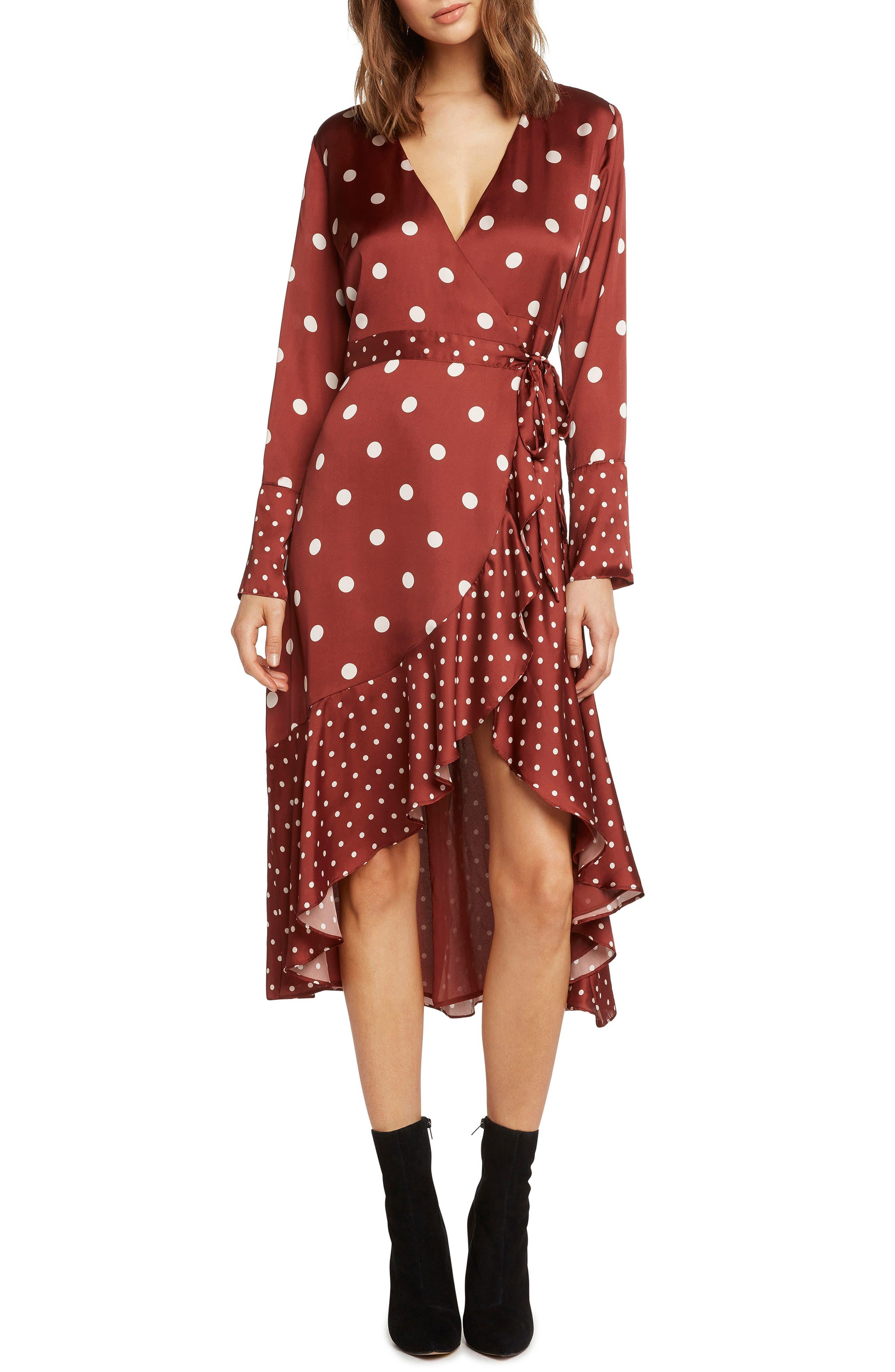 Mix Dot Satin Wrap Dress,                             Main thumbnail 1, color,                             RUST