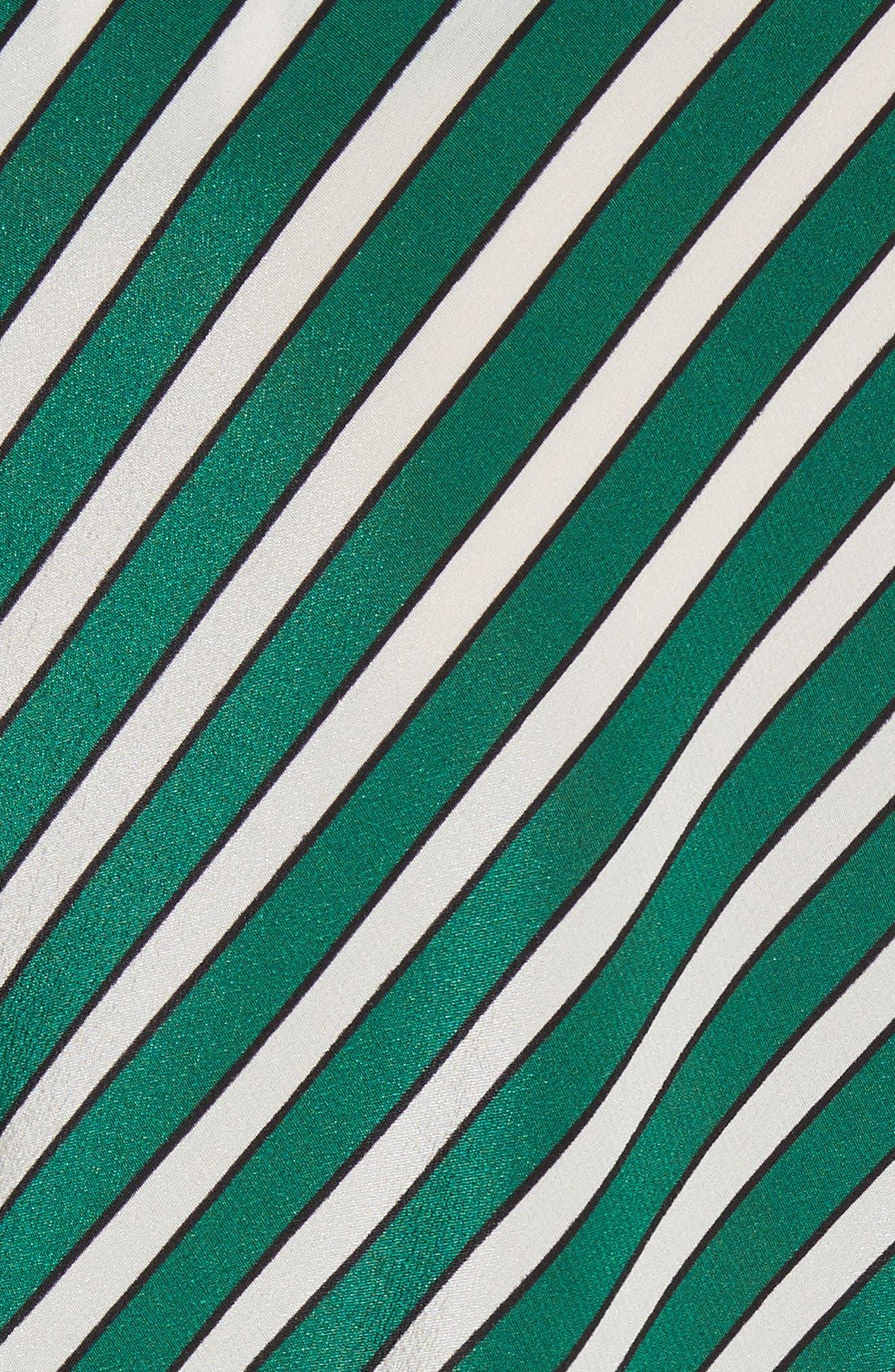 Stripe Silk Cold Shoulder Dress,                             Alternate thumbnail 6, color,                             300