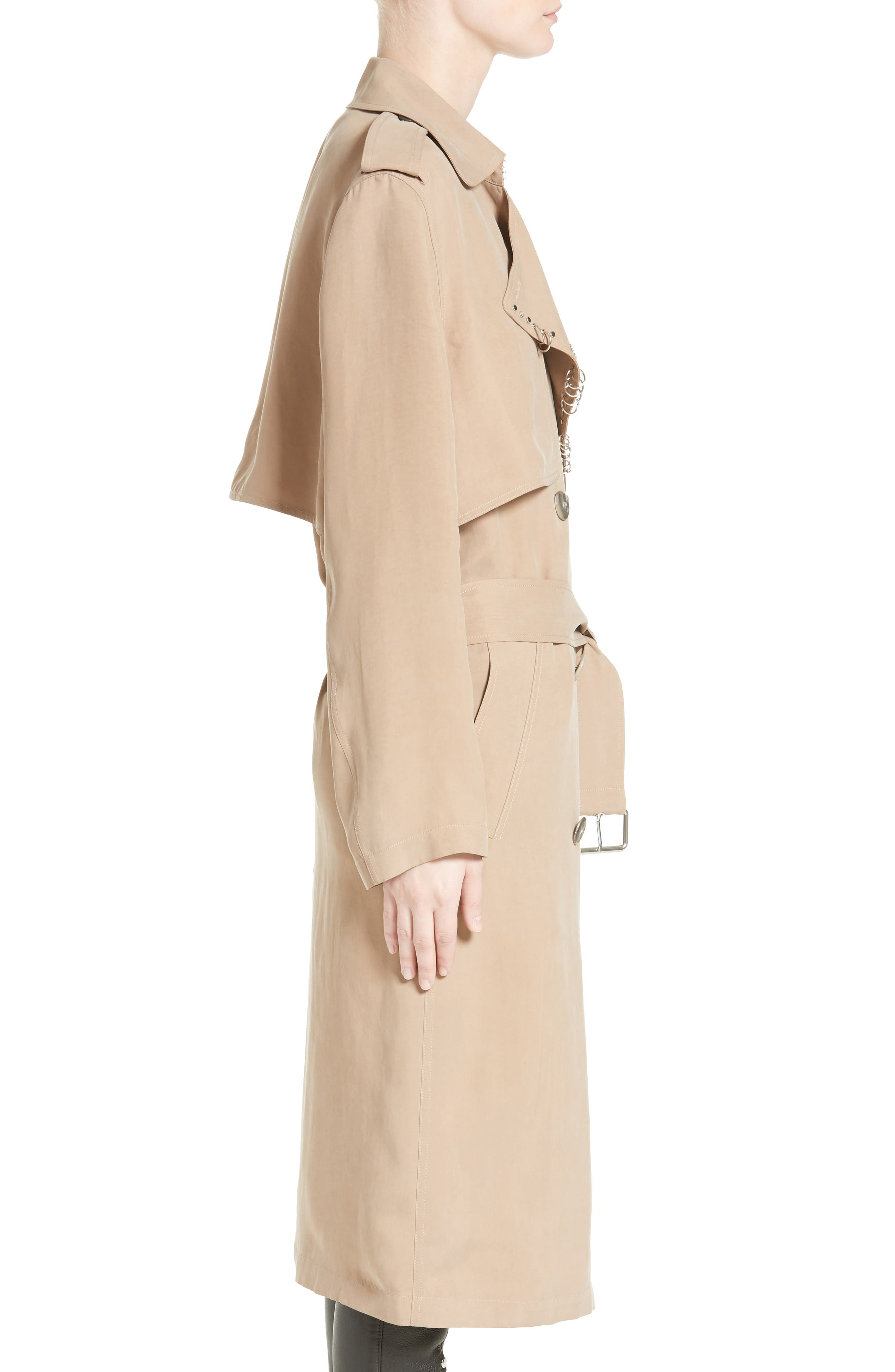 Pierced Trench Coat,                             Alternate thumbnail 3, color,                             200