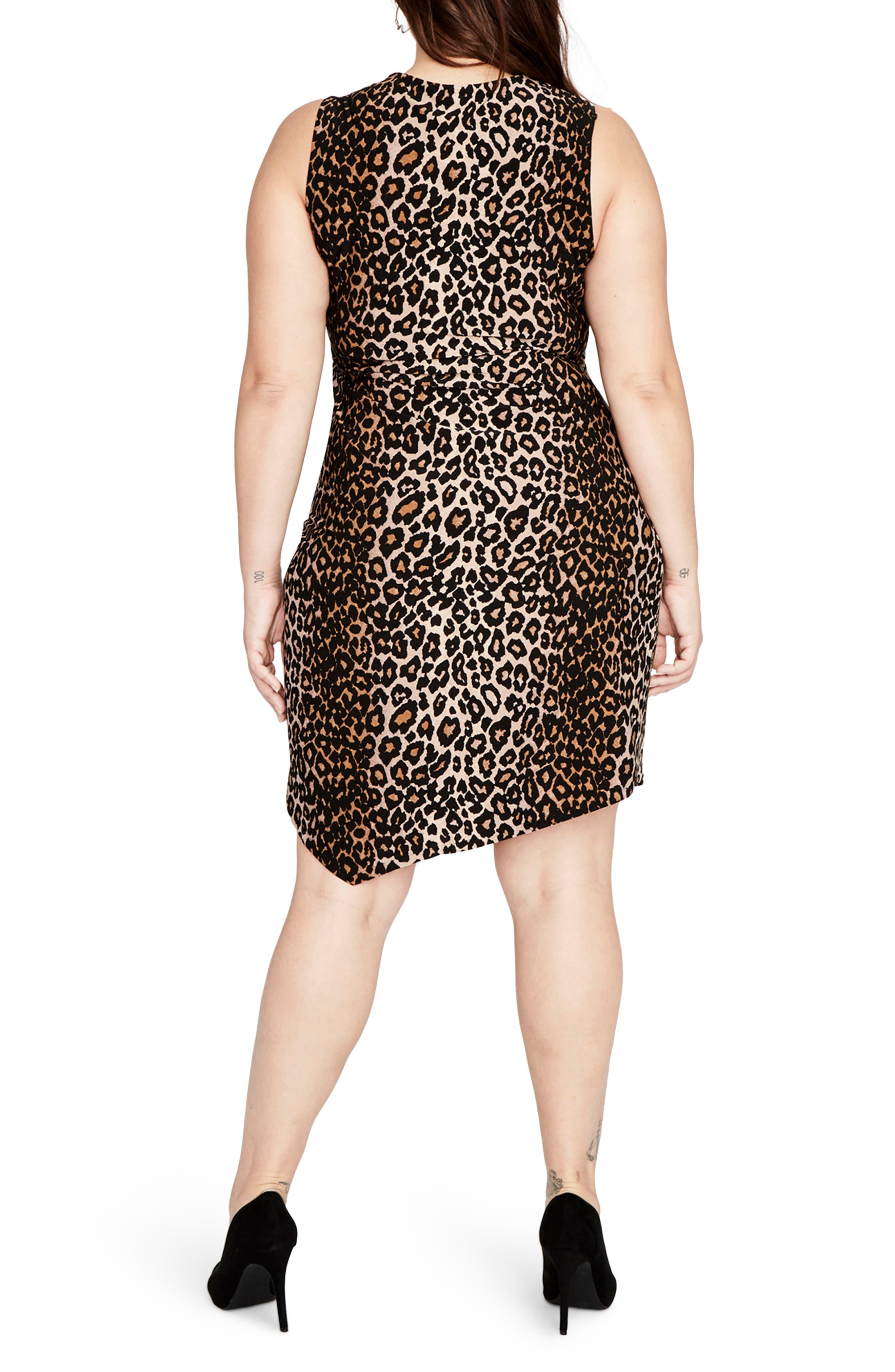 RACHEL BY Rachel Roy Leopard Print Asymmetrical Drape Dress,                             Alternate thumbnail 2, color,                             270