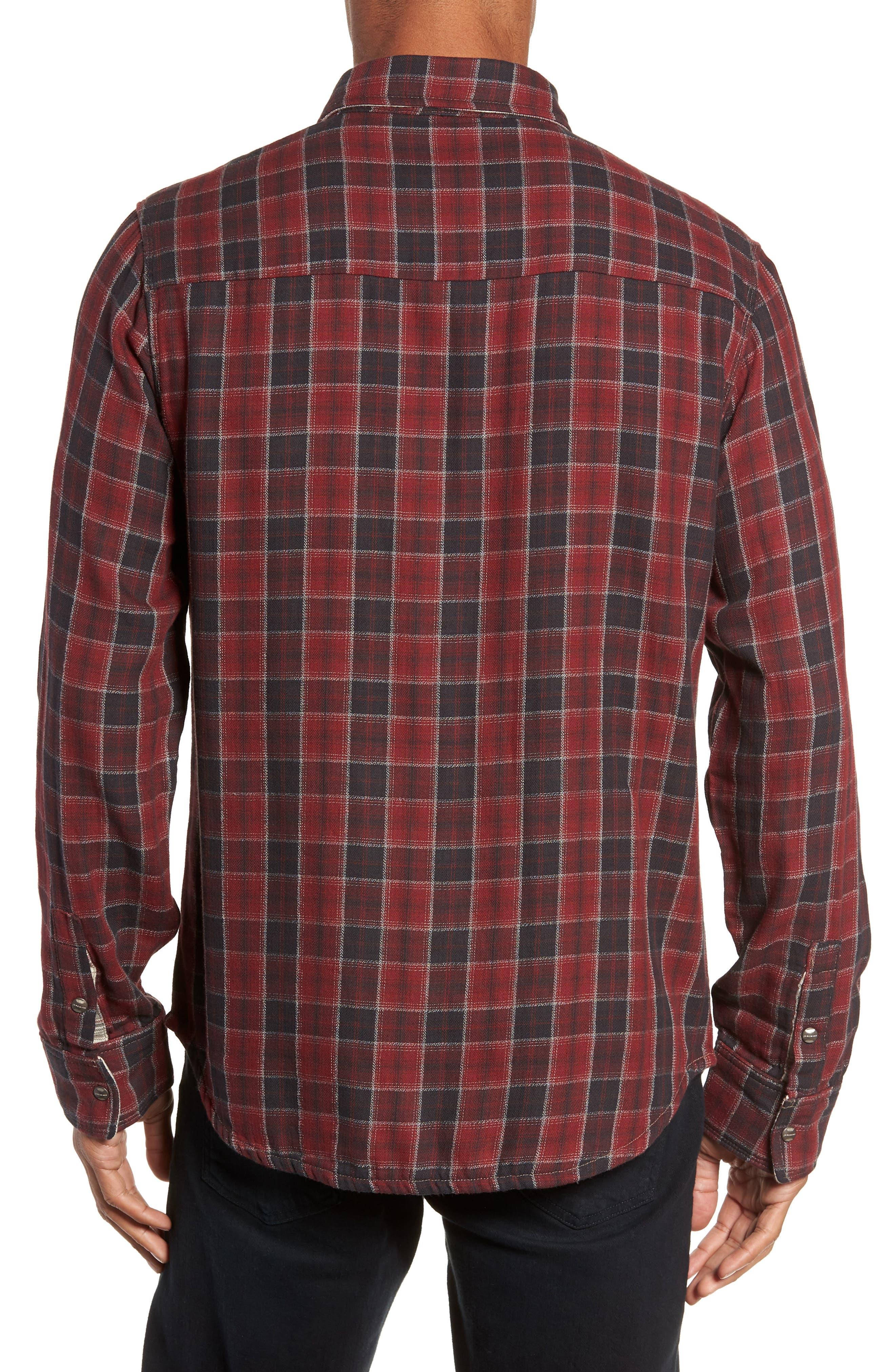 Boulder Regular Fit Reversible Plaid Shirt,                             Alternate thumbnail 4, color,                             OXBLOOD