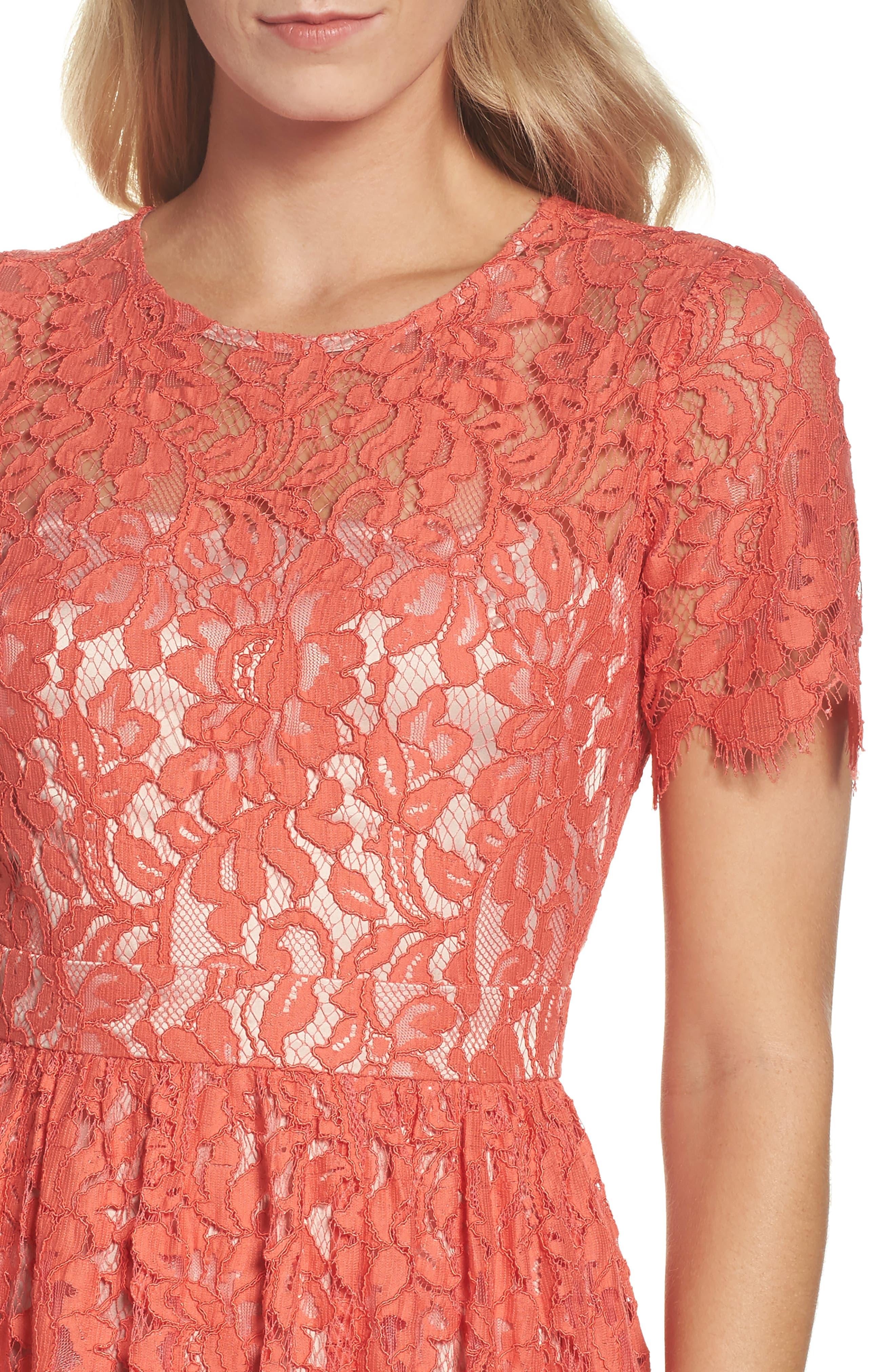 Lace Fit & Flare Dress,                             Alternate thumbnail 4, color,                             651