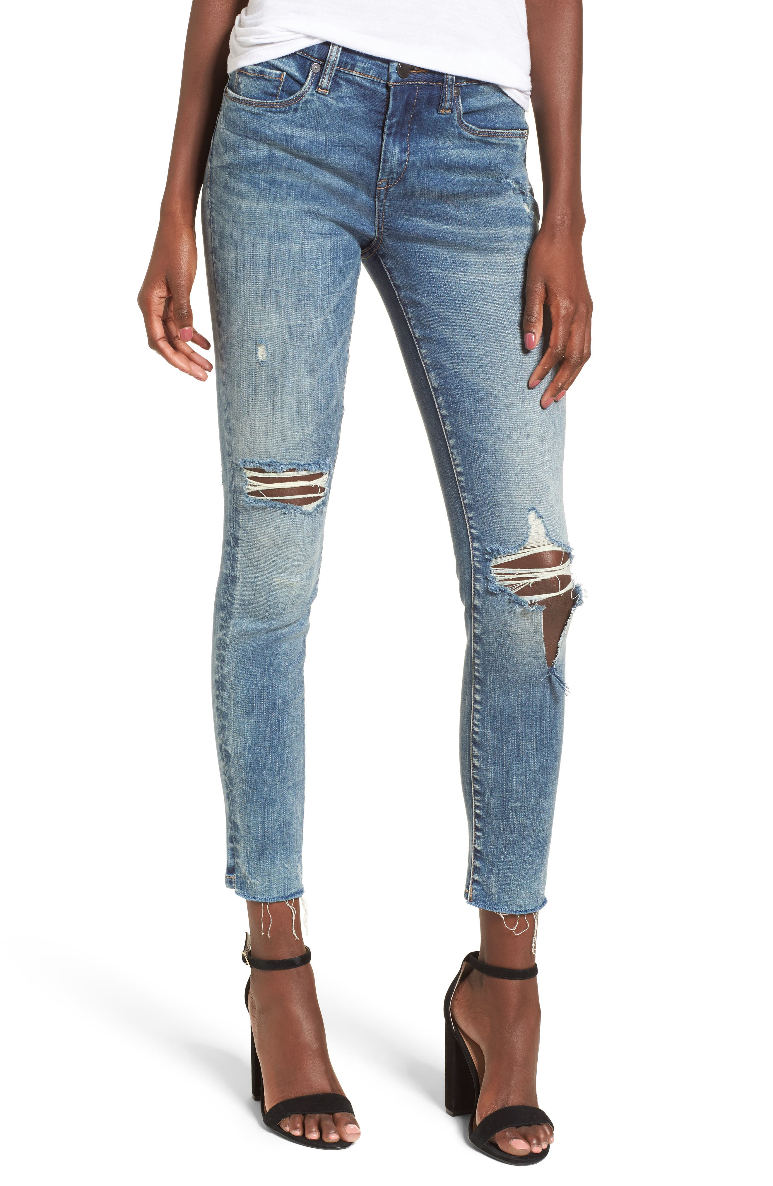 Distressed High Waist Skinny Jeans,                             Main thumbnail 1, color,                             400