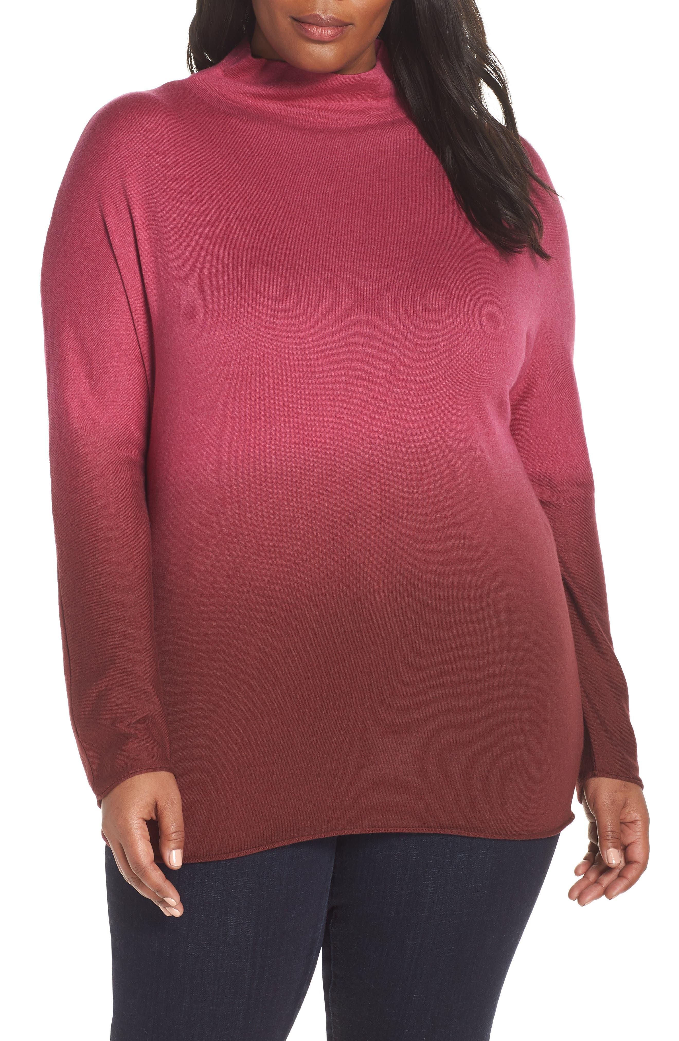 Plus Size Nic+Zoe Traveler Funnel Neck Sweater, Pink