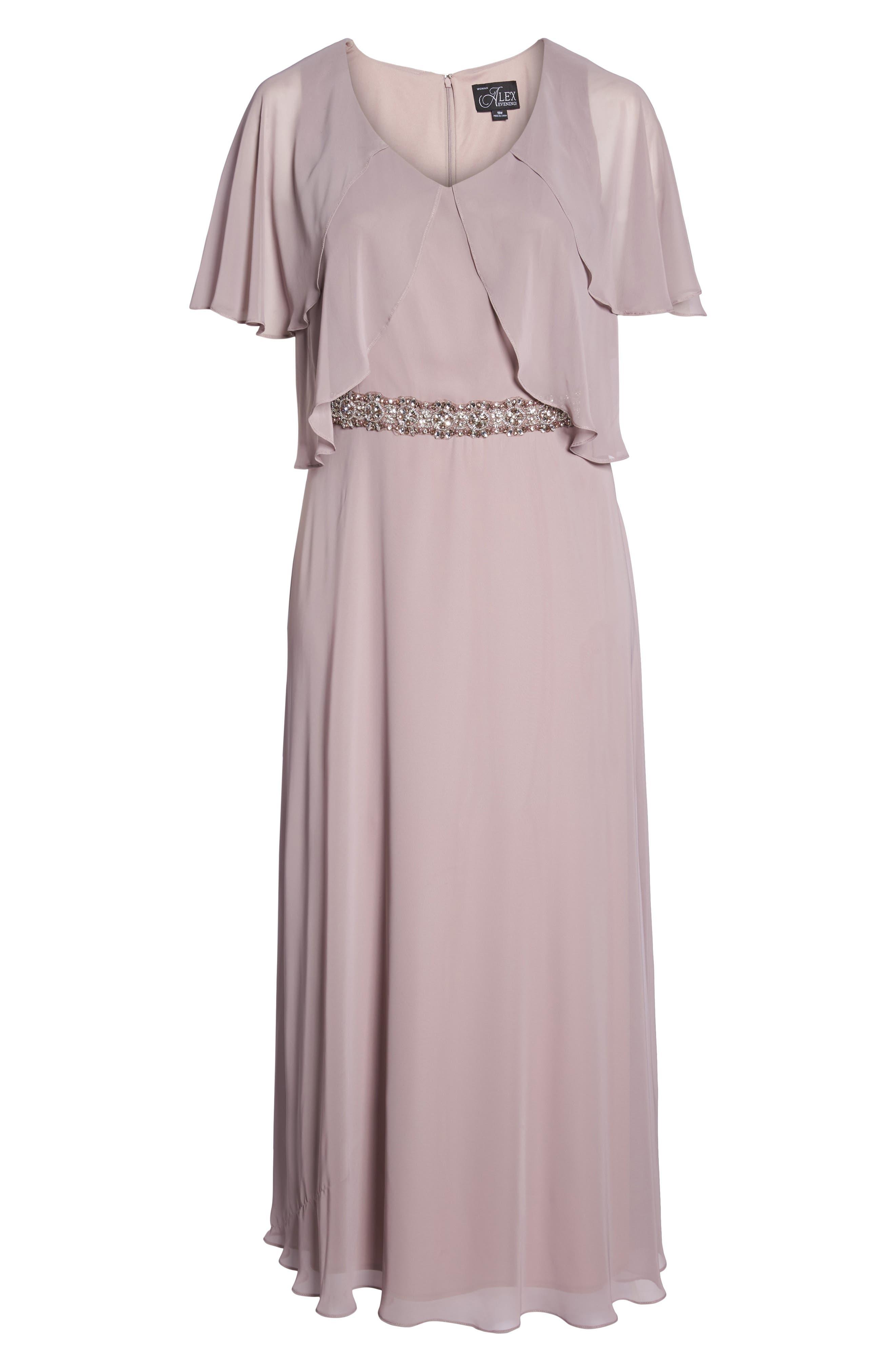 Embellished Waist Flutter Dress,                             Alternate thumbnail 7, color,                             680