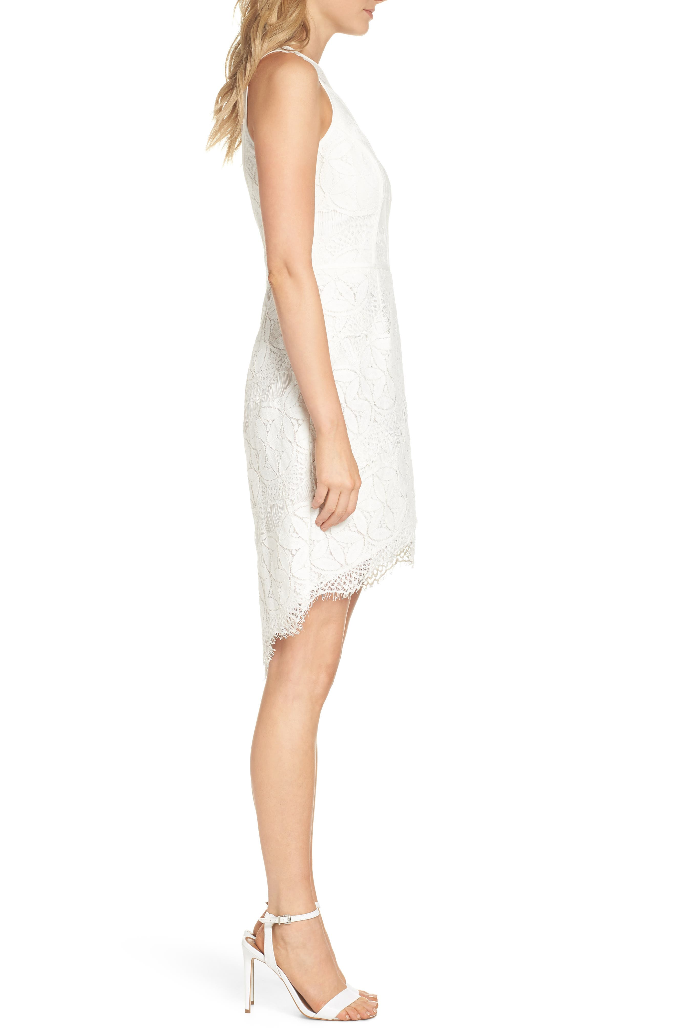Lace High/Low Sheath Dress,                             Alternate thumbnail 3, color,                             100