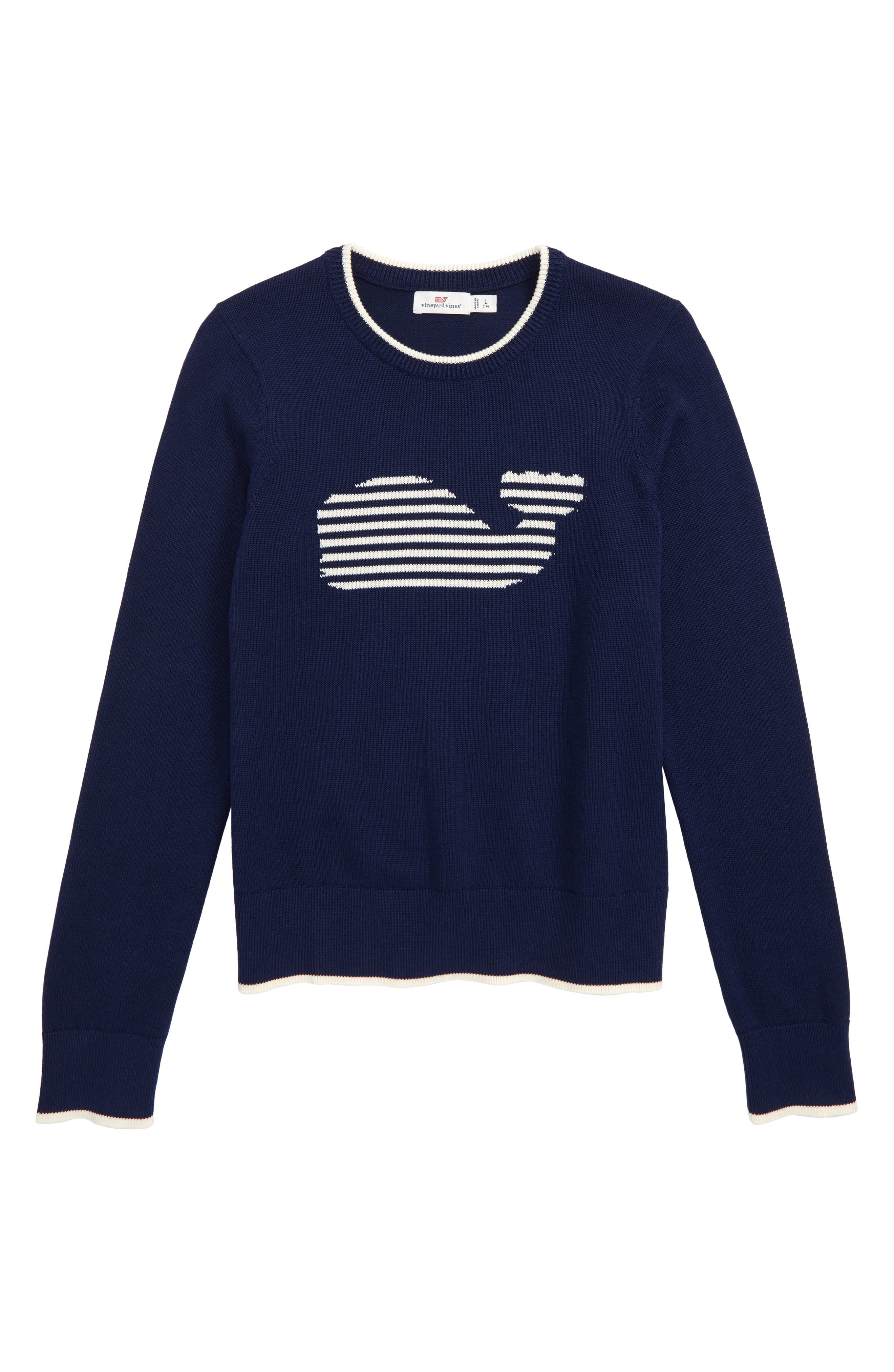 Stripe Whale Intarsia Sweater,                             Main thumbnail 1, color,                             DEEP BAY