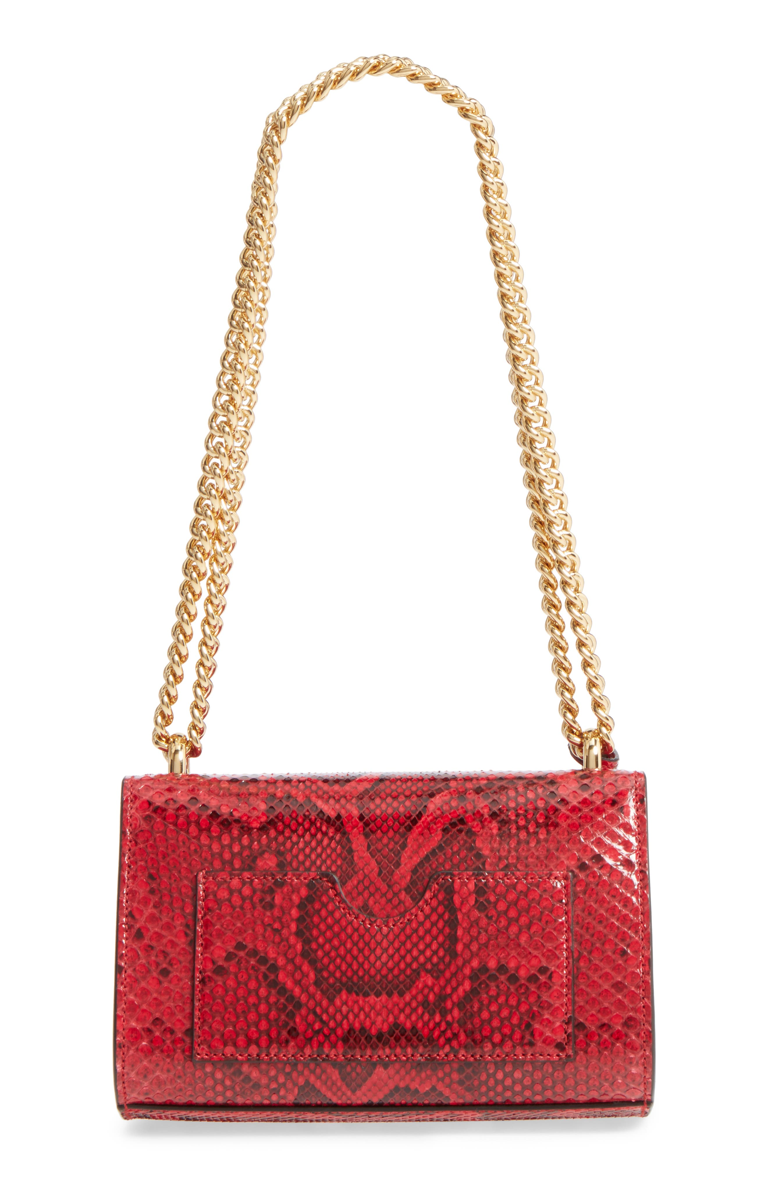 Small Padlock - Genuine Python Shoulder Bag,                             Alternate thumbnail 3, color,                             HIBISCUS RED
