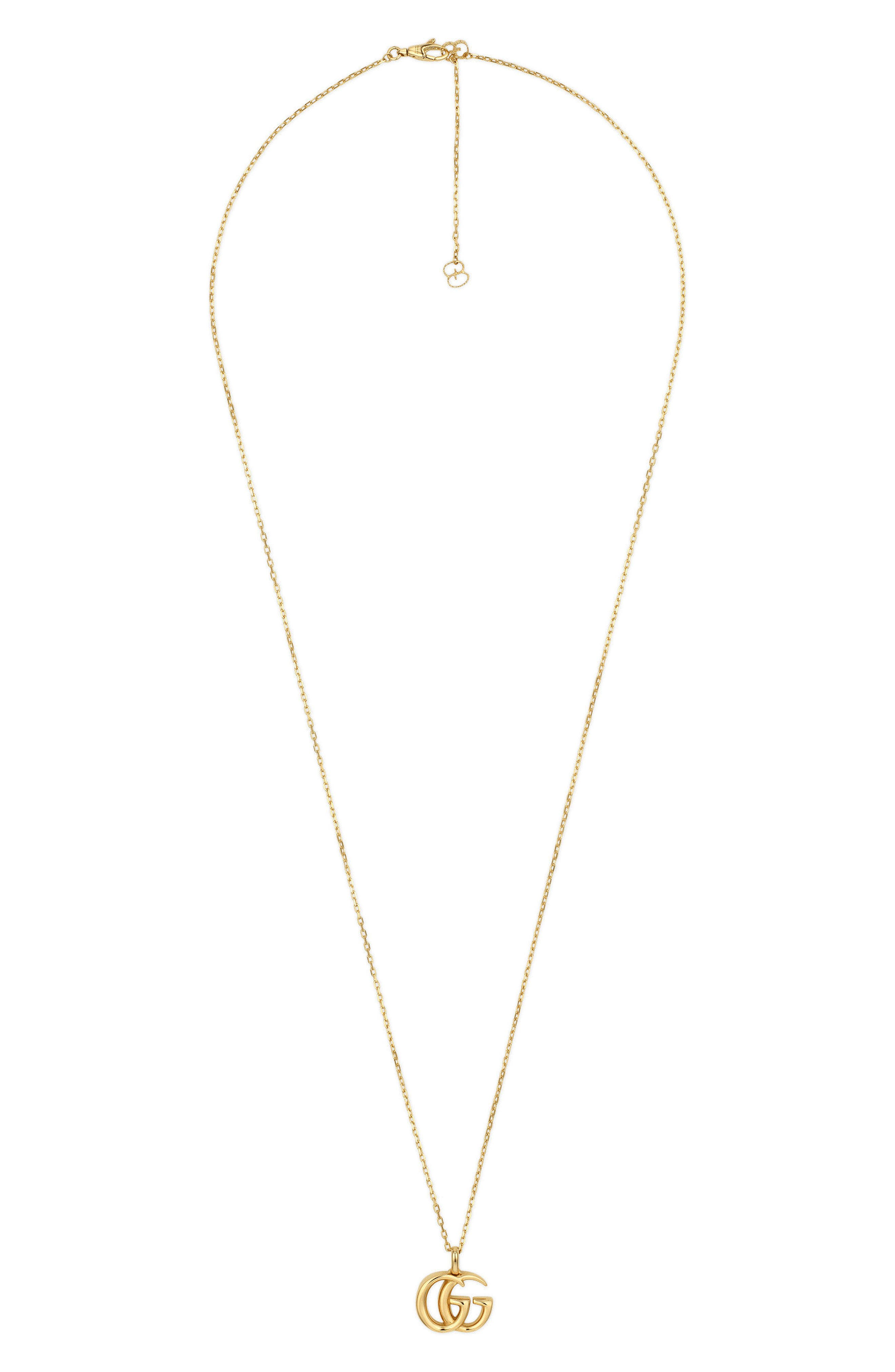 Double-G Pendant Necklace,                         Main,                         color, YELLOW GOLD