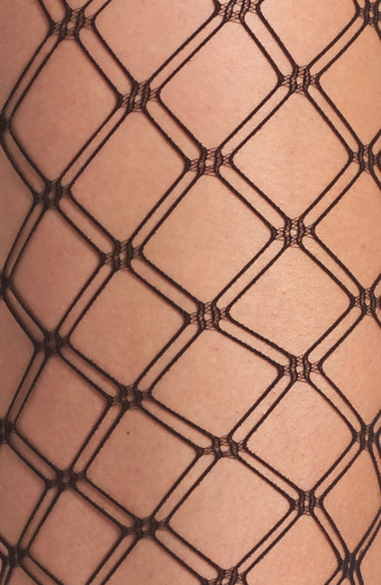 Double Diamond Fishnet Tights,                             Alternate thumbnail 2, color,                             001