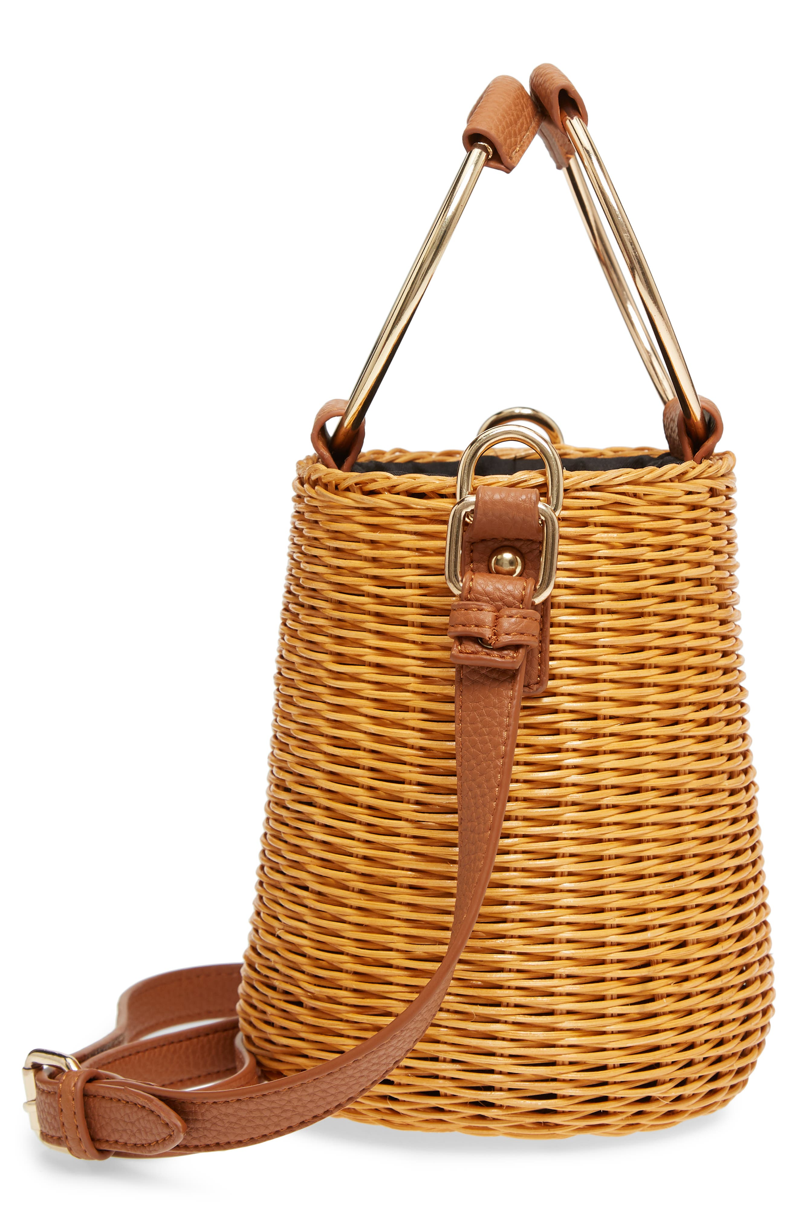 Metal Handle Straw Bucket Bag,                             Alternate thumbnail 5, color,                             243