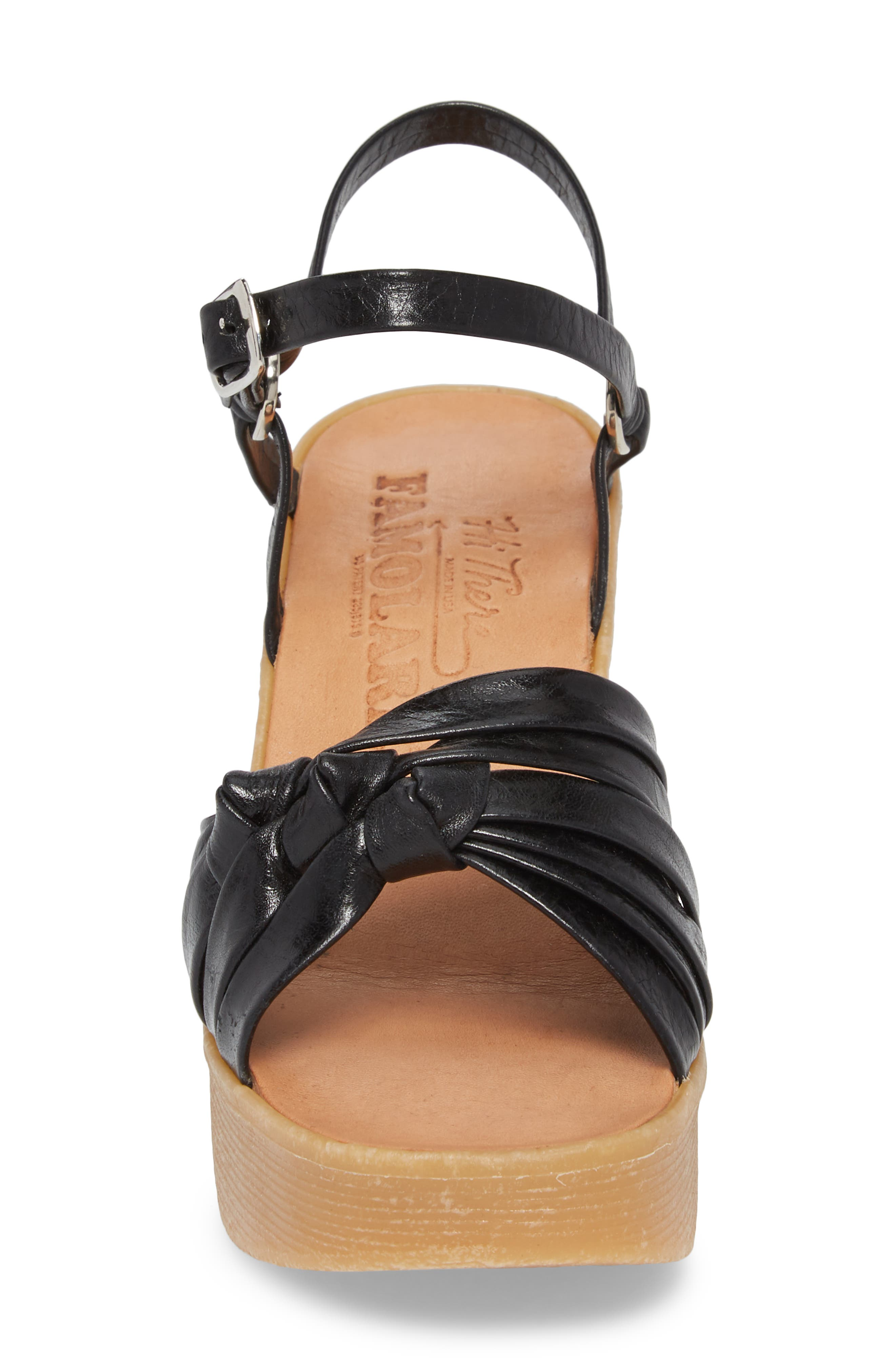 Knot So Fast Wedge Sandal,                             Alternate thumbnail 4, color,                             COAL LEATHER