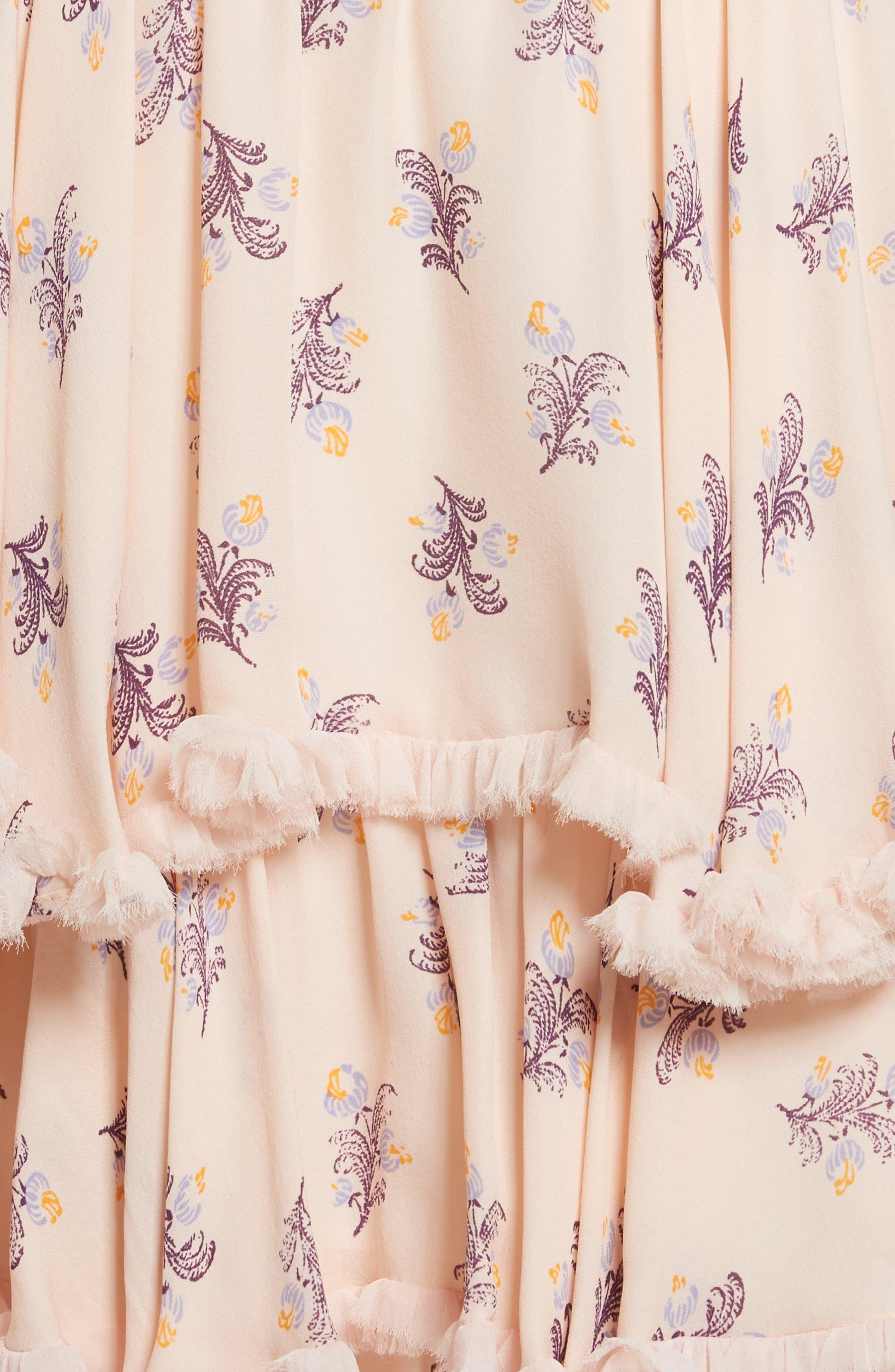 Edie Floral Print Tiered Silk Dress,                             Alternate thumbnail 5, color,                             699