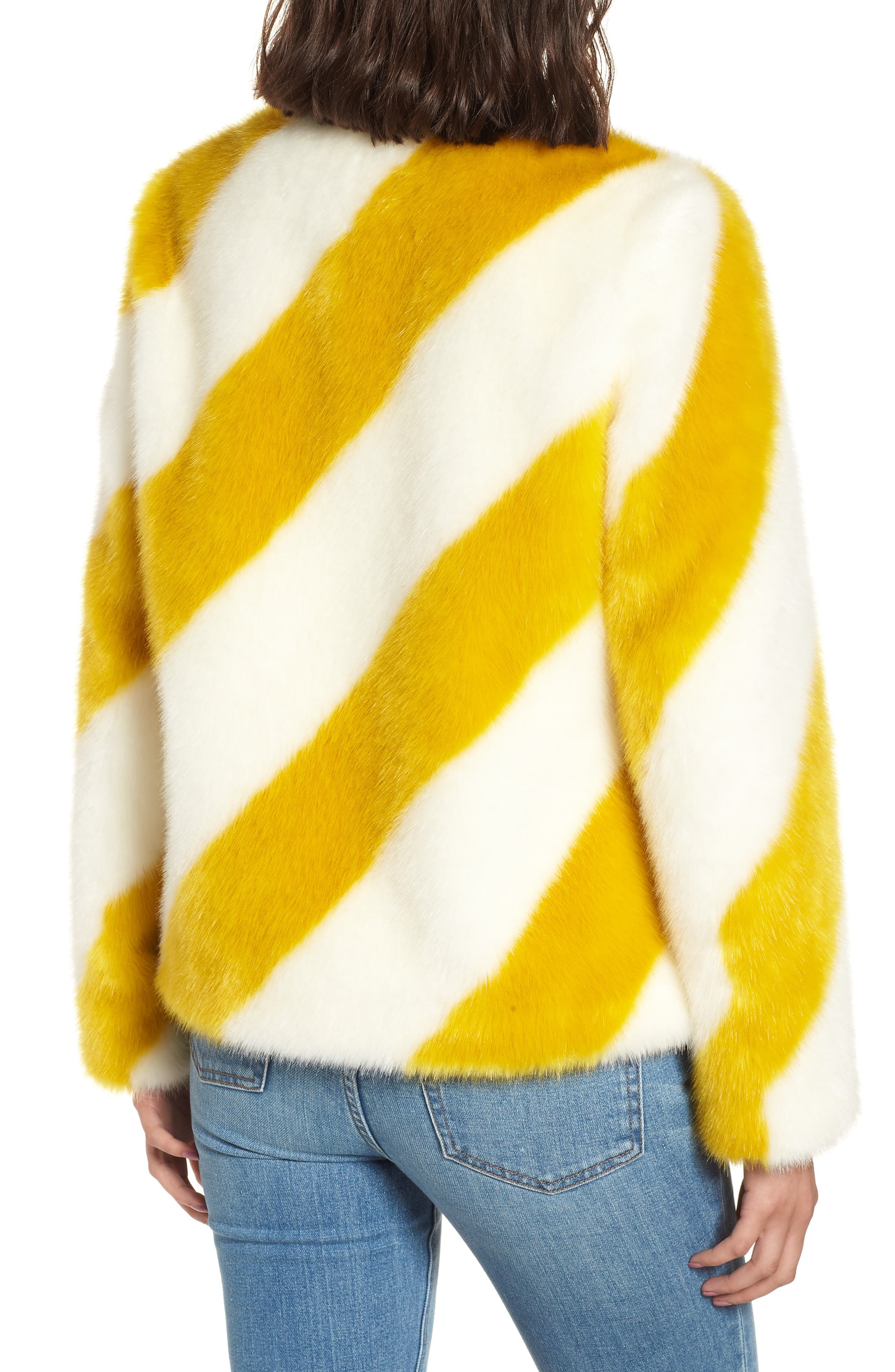 Collarless Chubby Faux Fur Jacket,                             Alternate thumbnail 2, color,                             IVORY/ MARIGOLD STRIPE