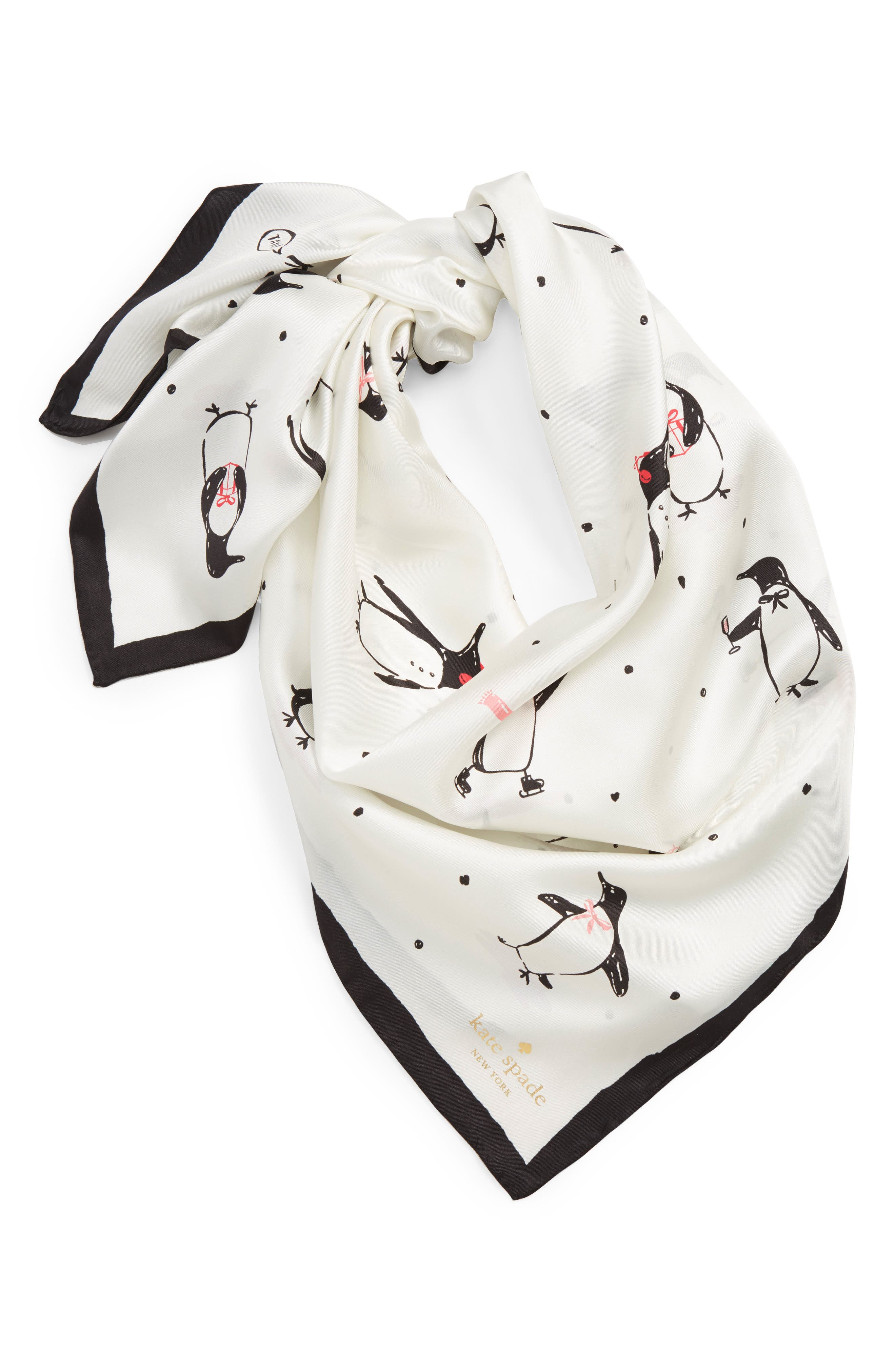 penguin silk square scarf,                             Alternate thumbnail 2, color,                             CREAM