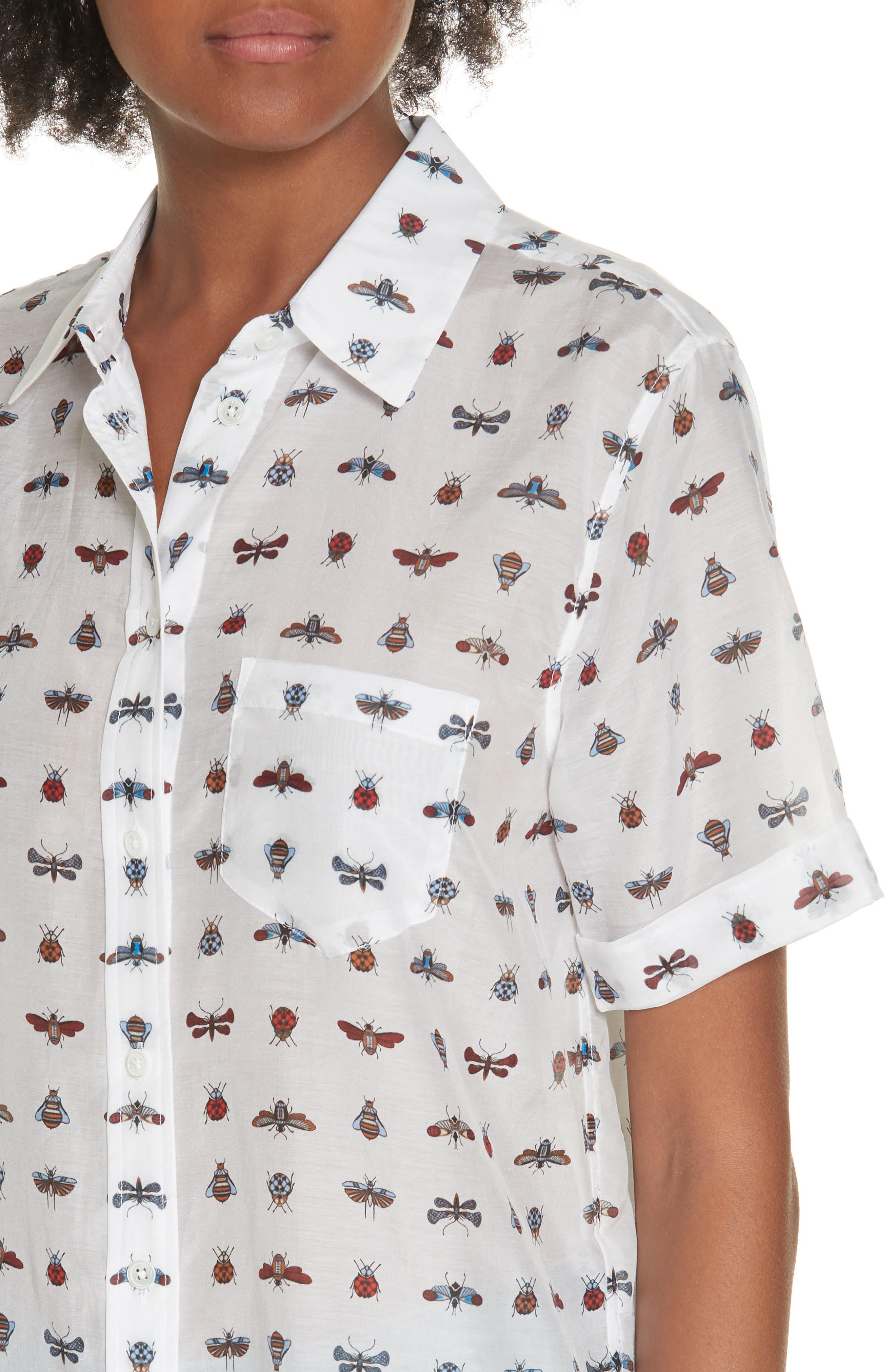 Elley Cotton & Silk Shirt,                             Alternate thumbnail 4, color,                             119
