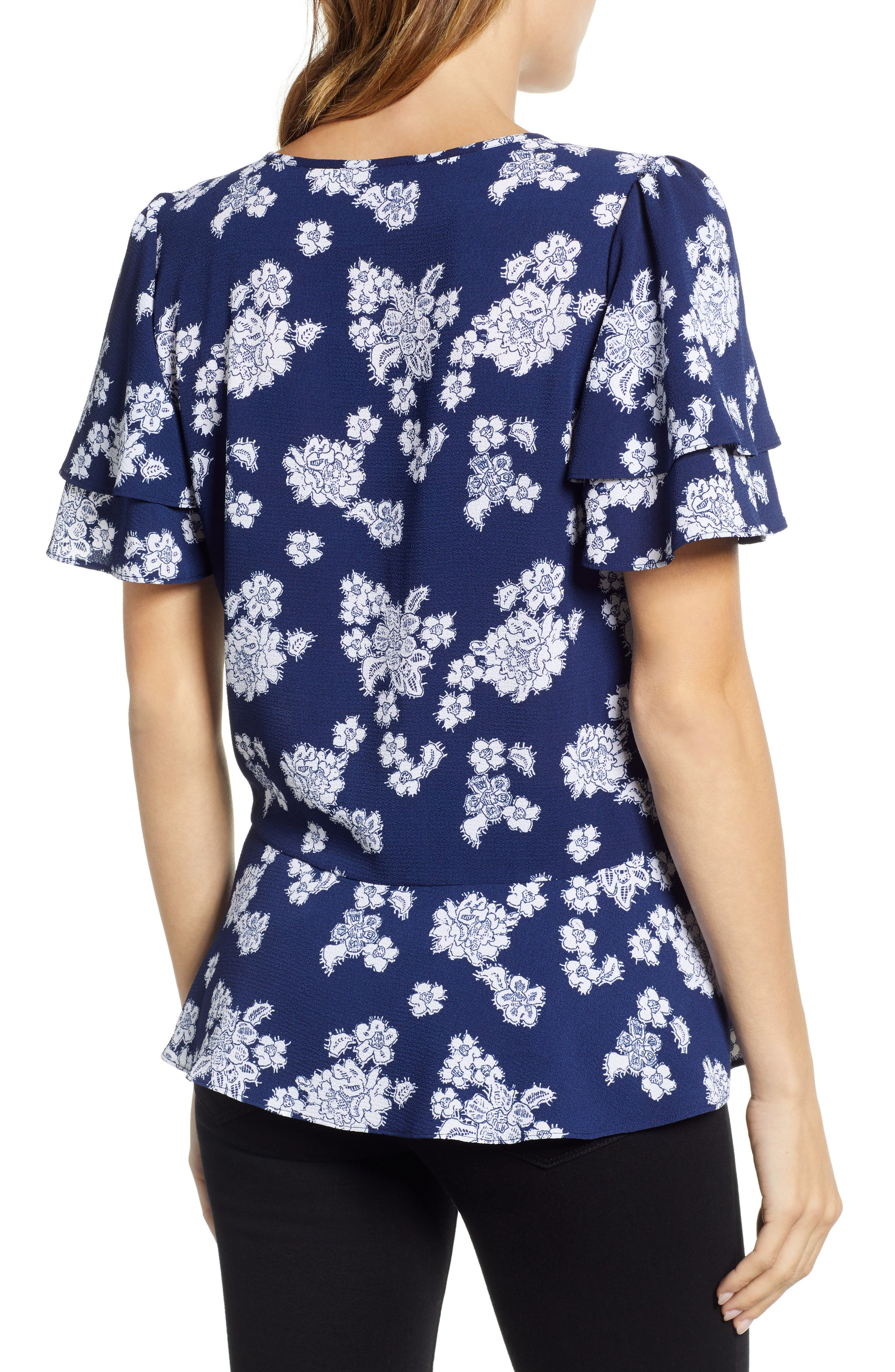 Tossed Lace Flowers Top,                             Alternate thumbnail 2, color,                             TRUE NAVY/ WHITE