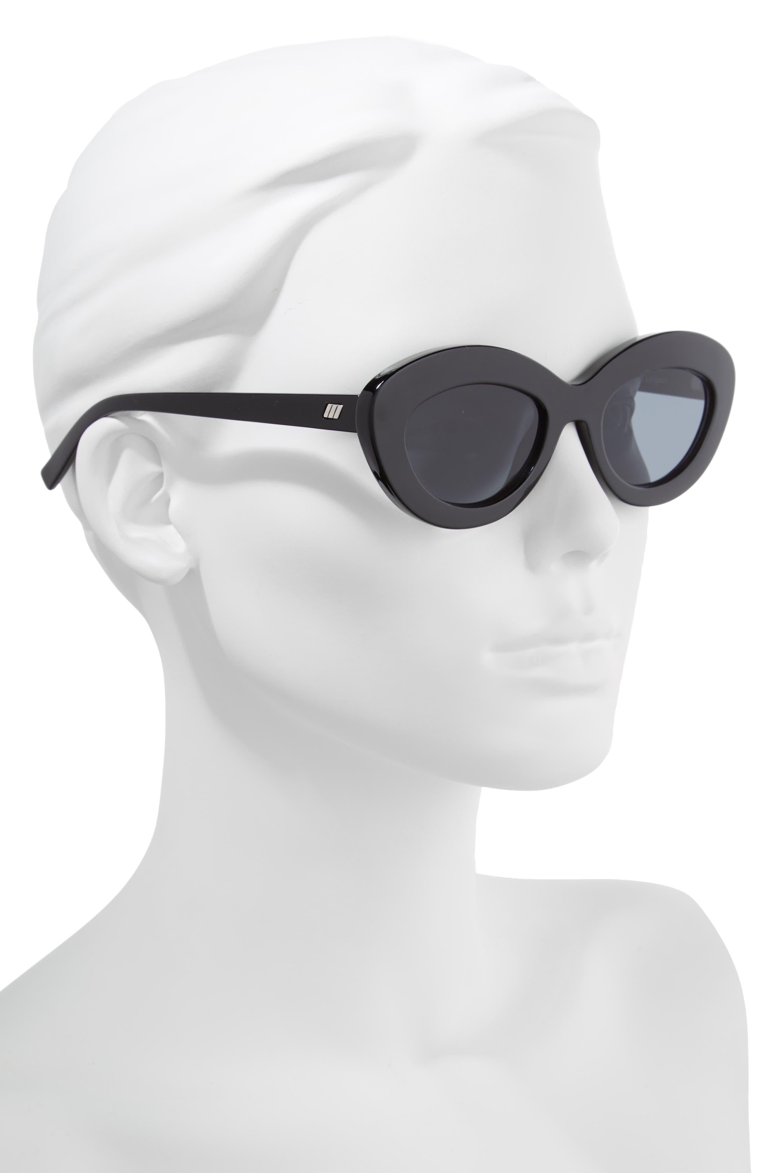 Fluxus 48mm Cat Eye Sunglasses,                             Alternate thumbnail 2, color,                             BLACK