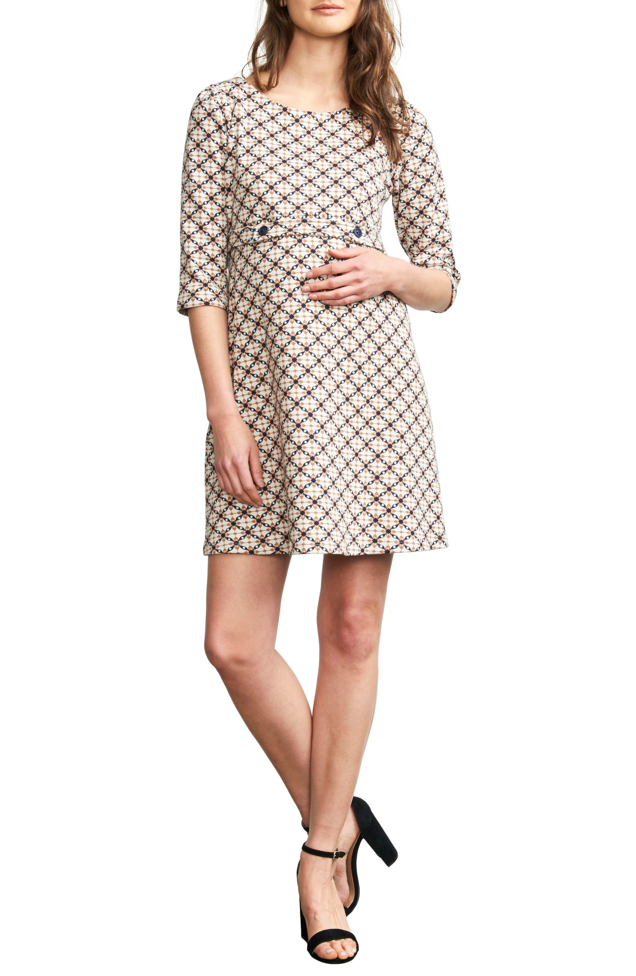 Button Band Maternity Dress,                             Main thumbnail 1, color,                             JACQUARD