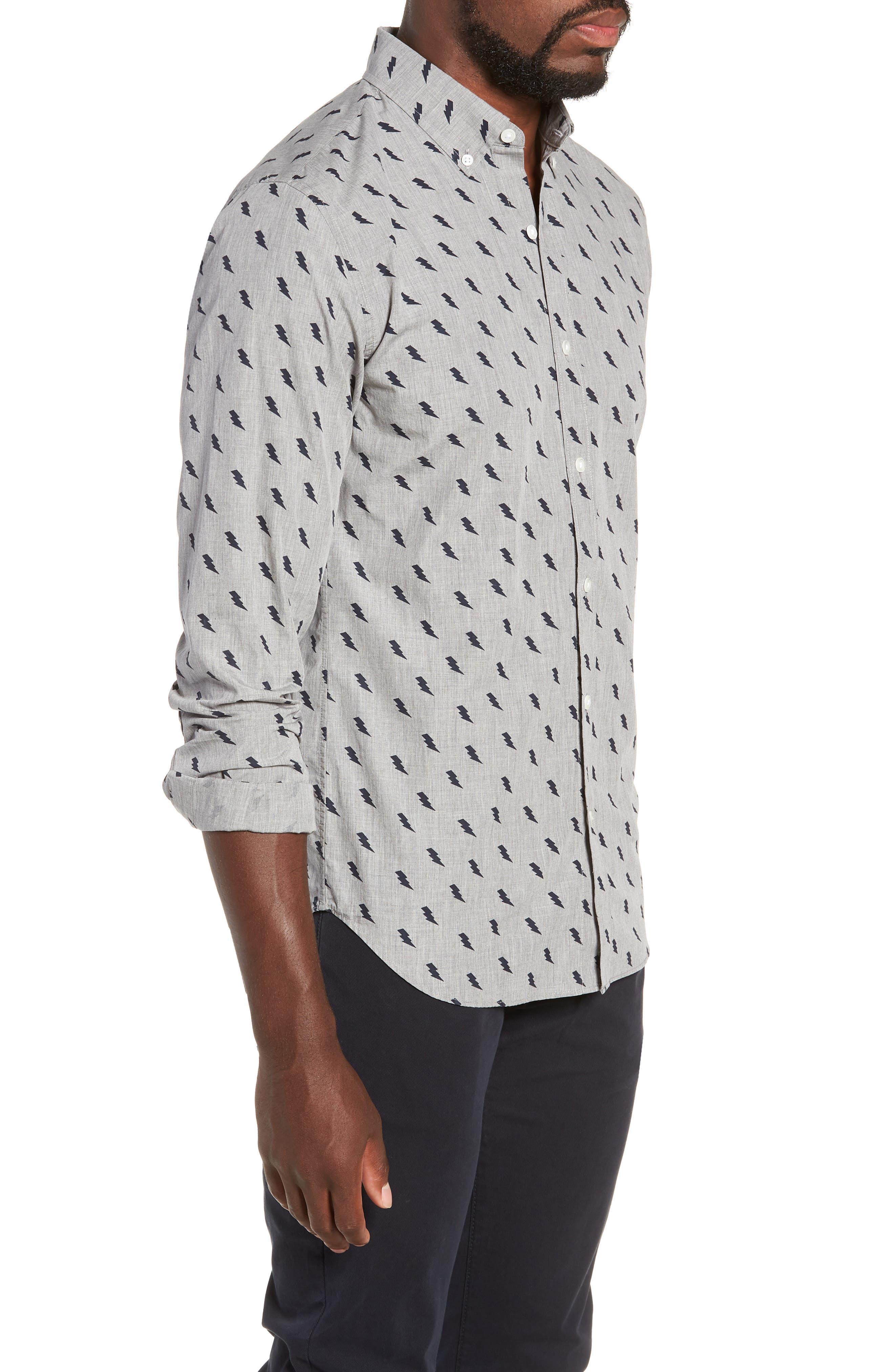 Washed Button Down Slim Fit Lightning Print Sport Shirt,                             Alternate thumbnail 4, color,                             ZAP - MEDIUM GREY HEATHER