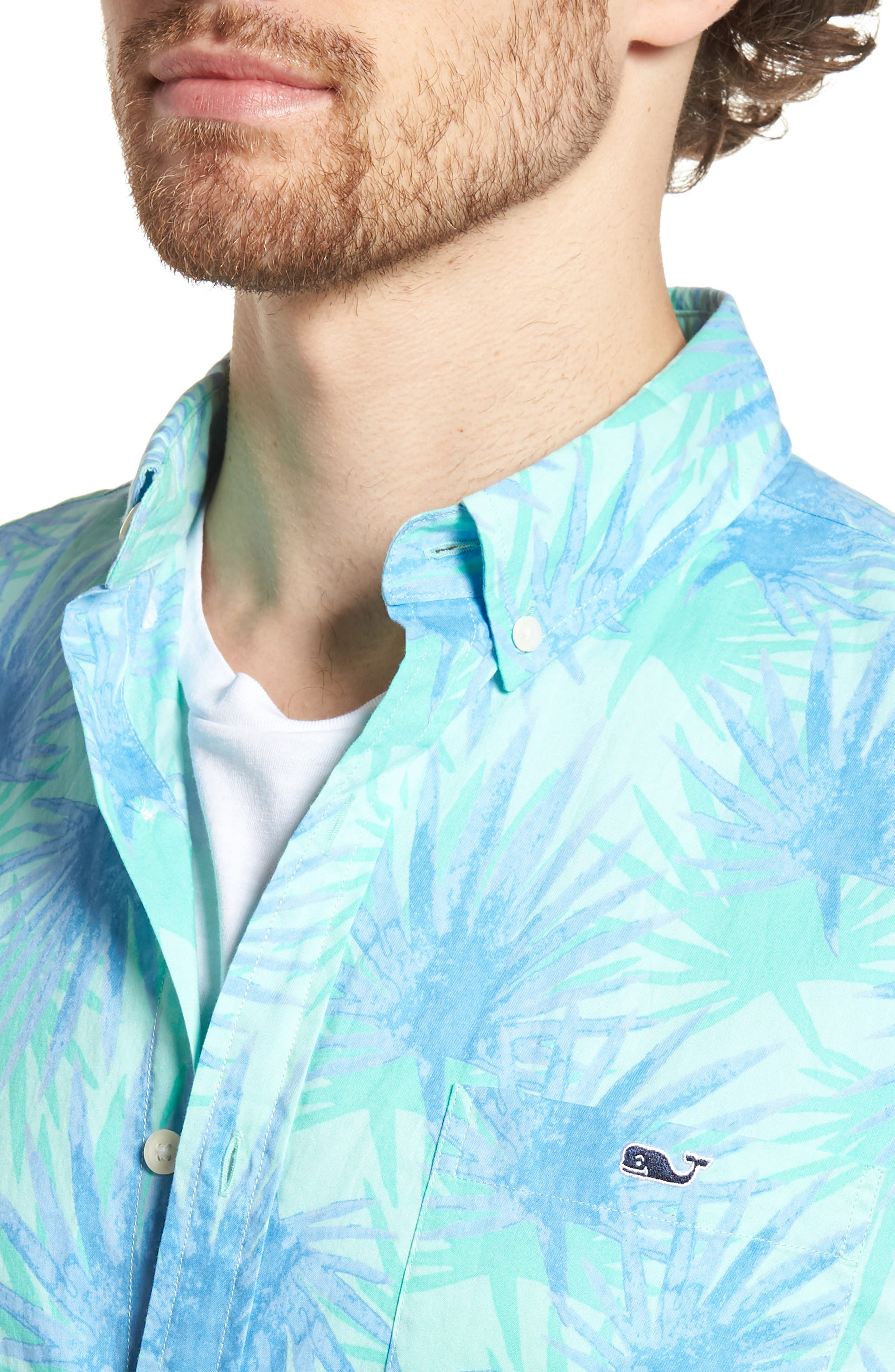 Electric Palm Slim Fit Print Short Sleeve Sport Shirt,                             Alternate thumbnail 4, color,                             400