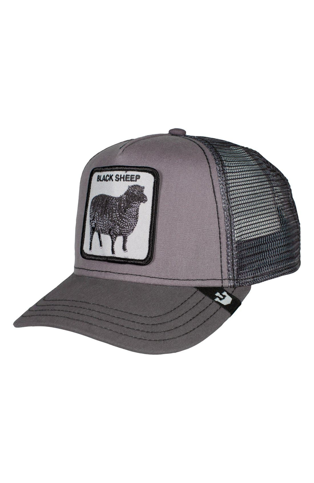 'Shades of Black' Mesh Trucker Hat,                             Main thumbnail 1, color,                             020