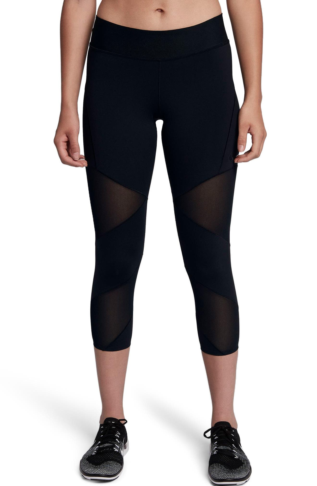 Fly Lux Crop Leggings,                         Main,                         color, BLACK/ CLEAR