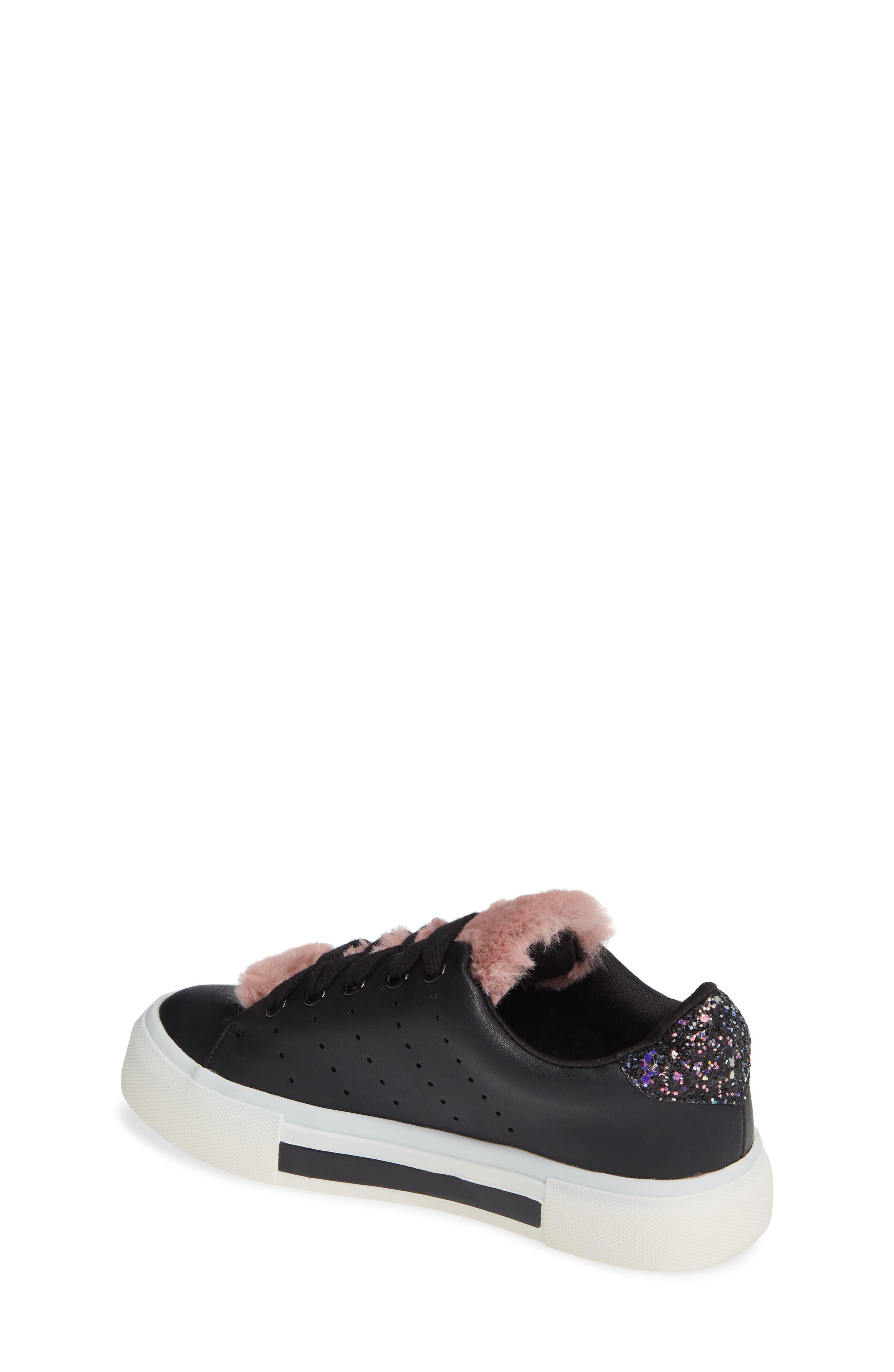 Cabel Glitter Faux Fur Sneaker,                             Alternate thumbnail 2, color,                             BLACK STELLA
