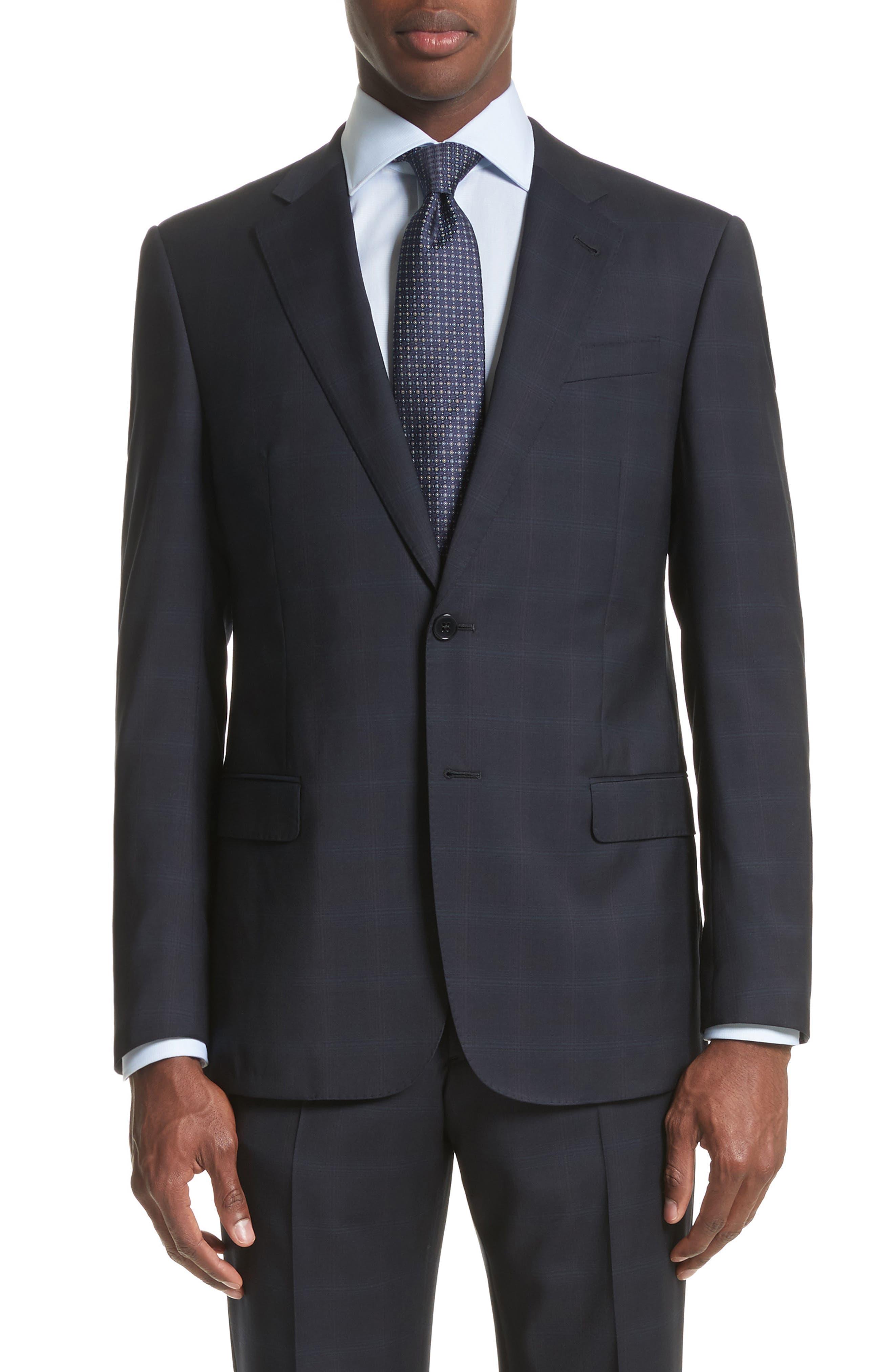 Trim Fit Plaid Wool Suit,                             Alternate thumbnail 5, color,                             465