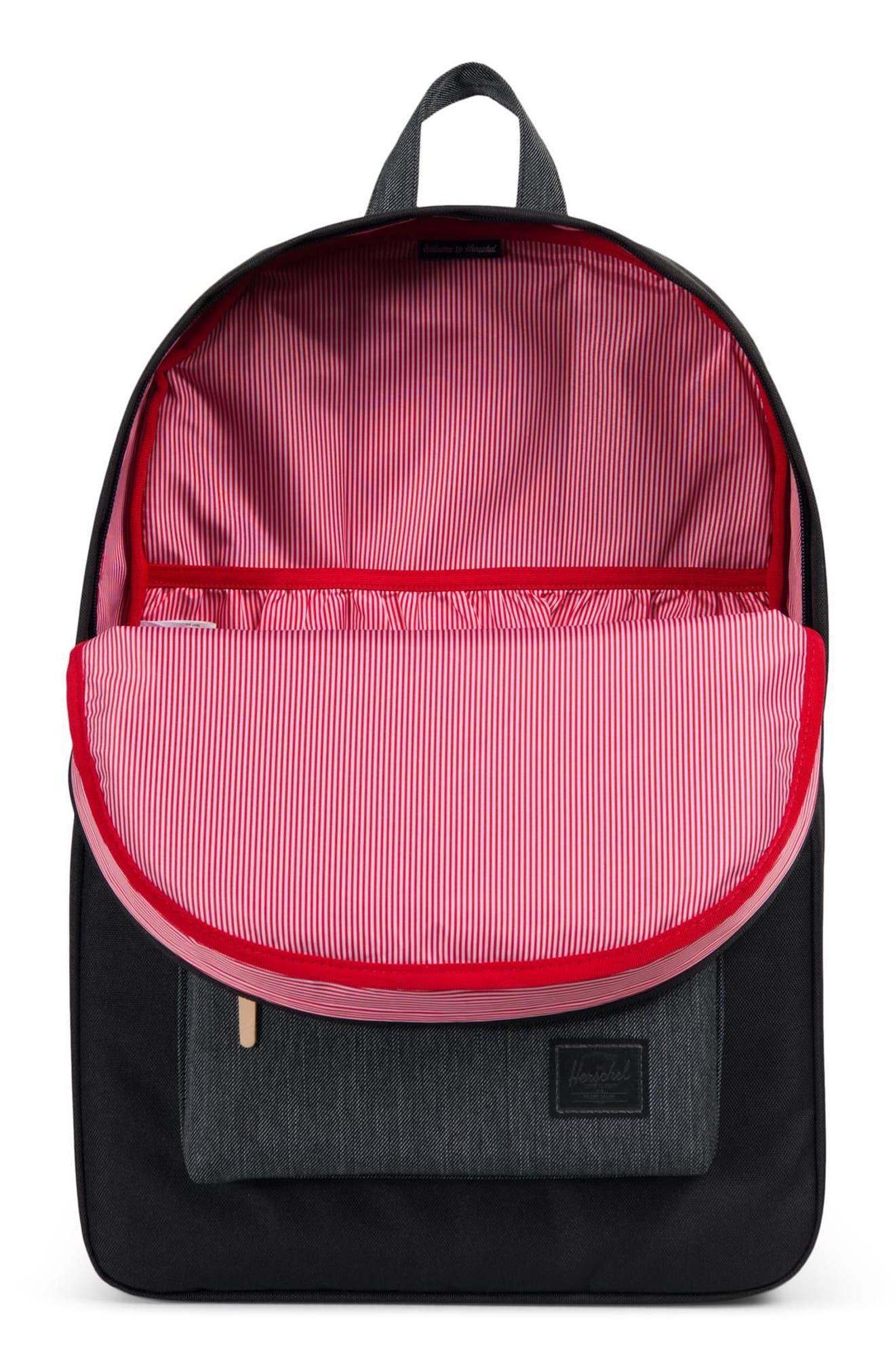 Heritage Offset Denim Backpack,                             Alternate thumbnail 3, color,                             BLACK/ BLACK DENIM