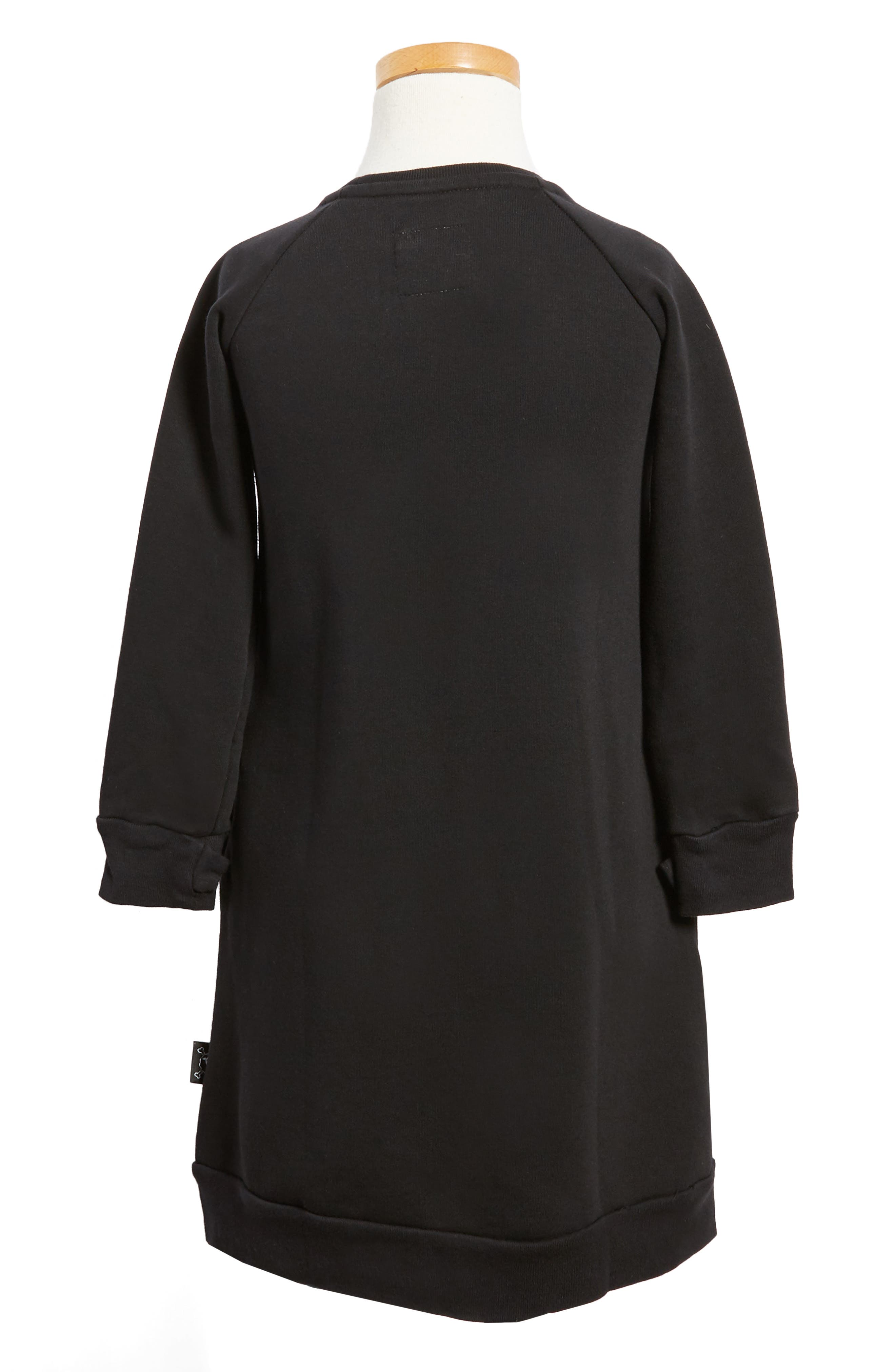 Puffy Number Sweashirt Dress,                             Alternate thumbnail 2, color,                             001