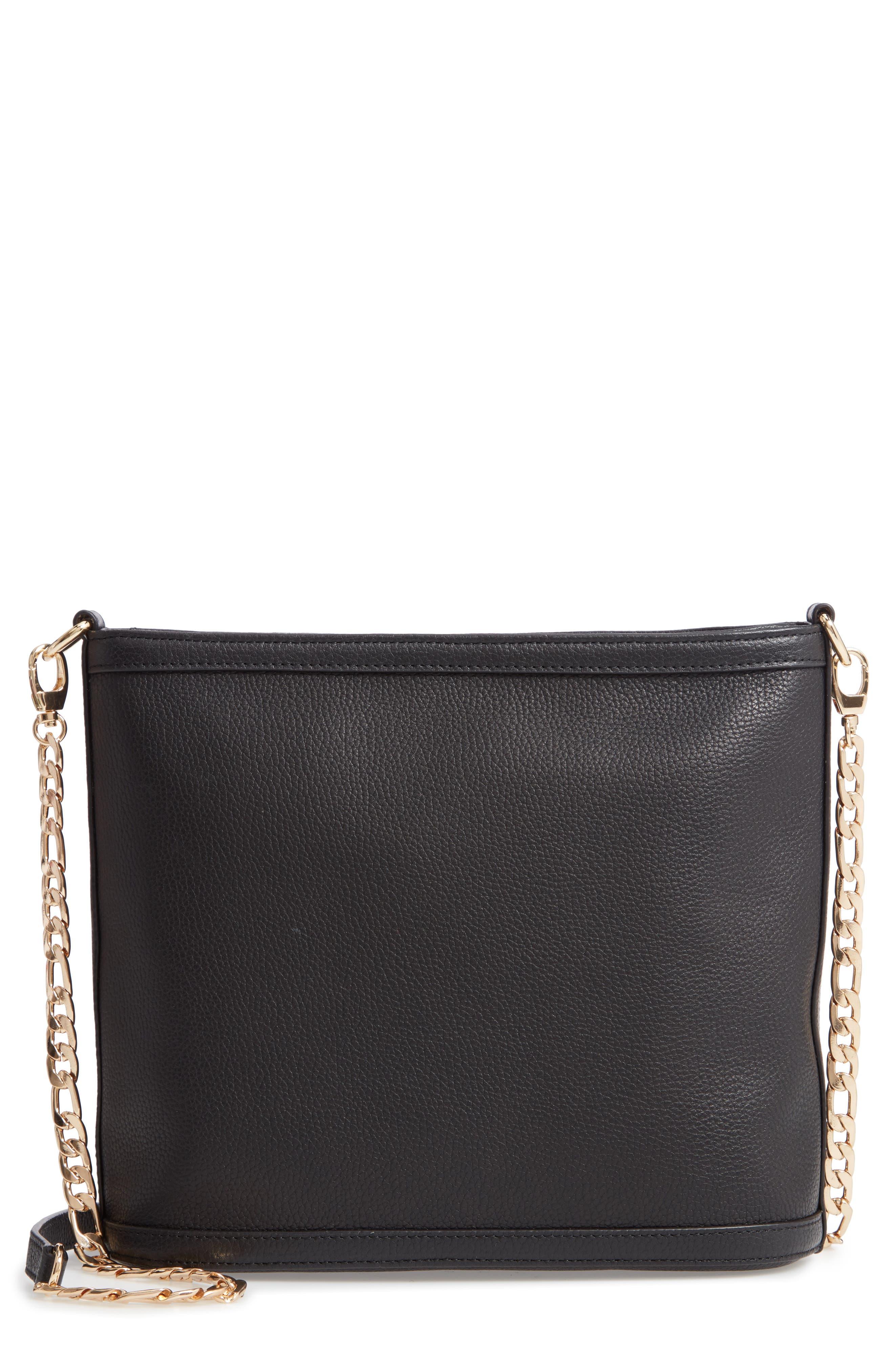 Maribel Leather Crossbody Bag,                             Main thumbnail 1, color,                             BLACK