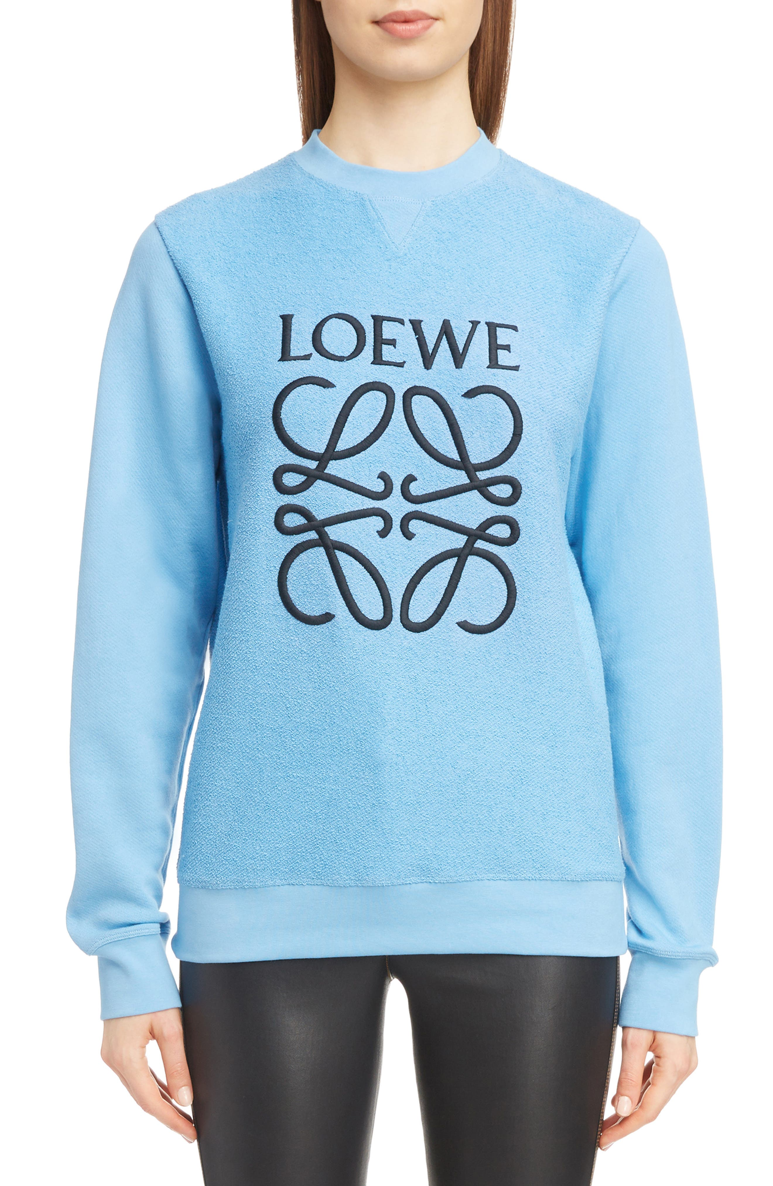 Terry Bodice Logo Sweatshirt,                         Main,                         color, LIGHT BLUE