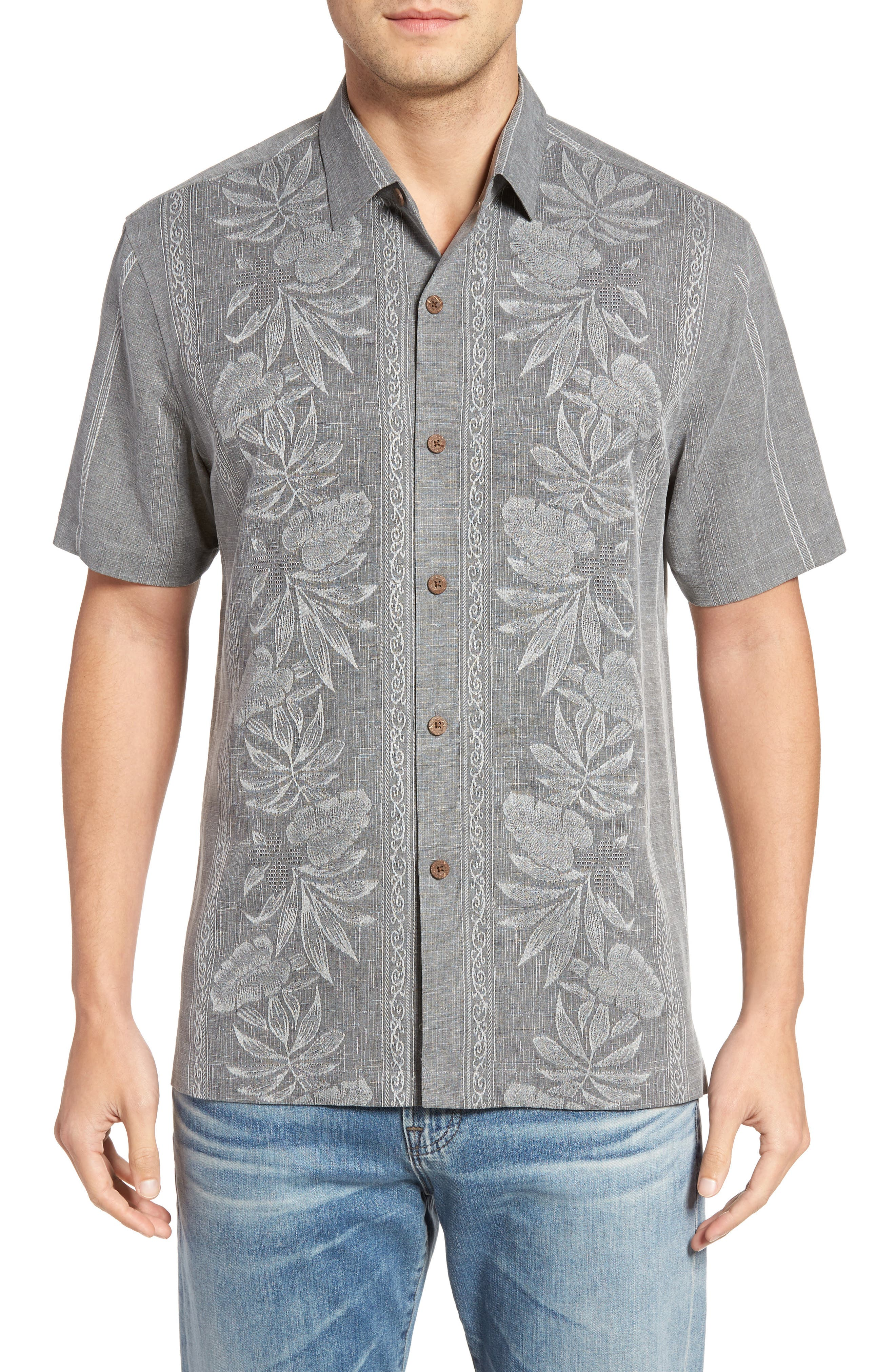 Pacific Floral Silk Camp Shirt, Main, color, 050